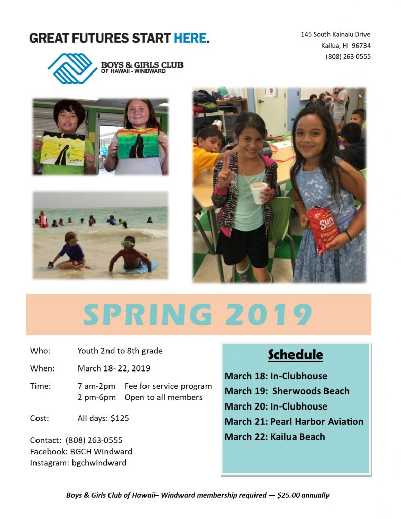 Boys & Girls Club – Spring Break – Kainalu Elementary Pta With Regard To Boys And Girls Club Spring Break