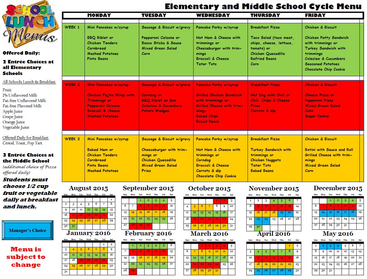 Breakfast & Lunch Menus – Clay County Public Schools Regarding Clay County Schools Fl Calendar