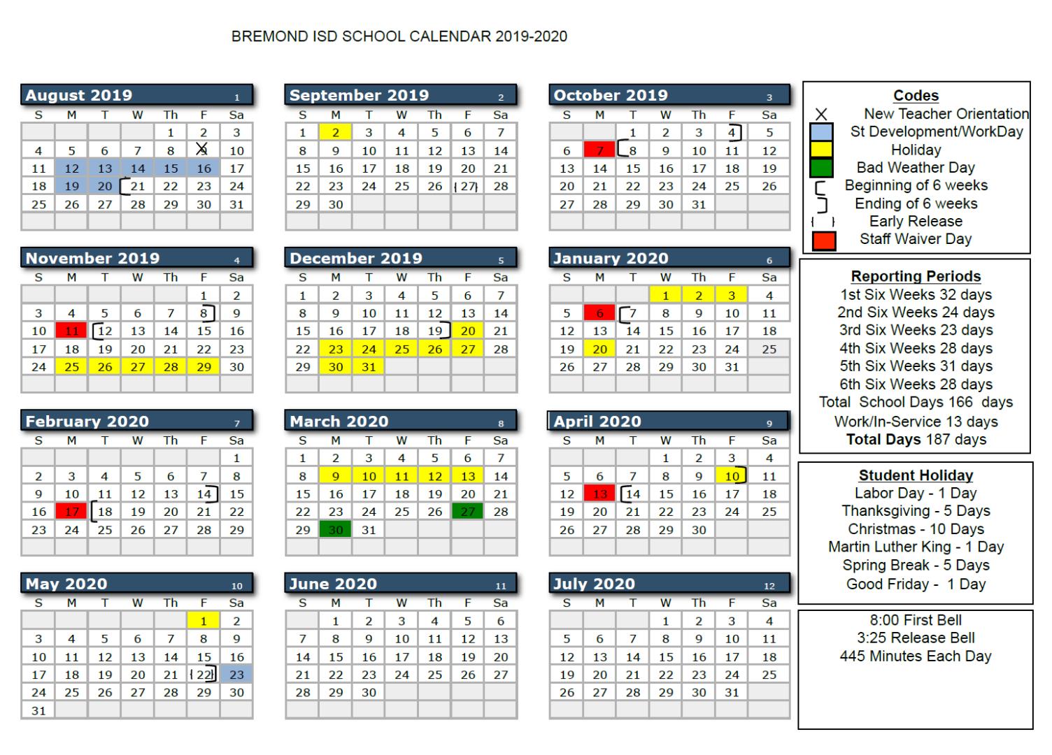 Bremond Isd - 2019 2020 Bisd School Calendar With Regard To Brownsville Isd Calendar 2021