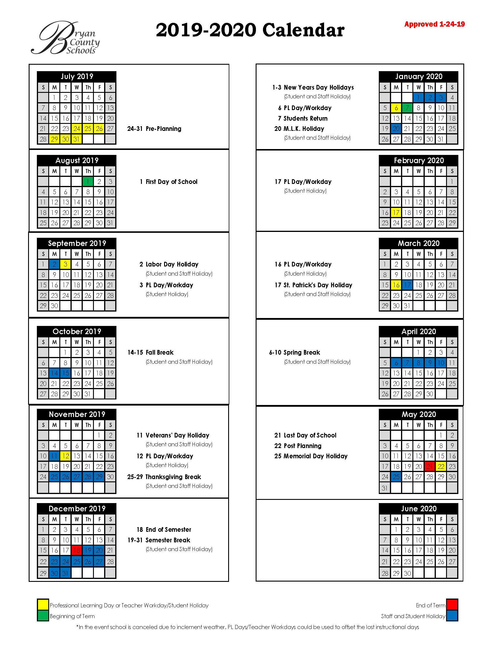 Bryan County Schools Within North Hills School Calendar
