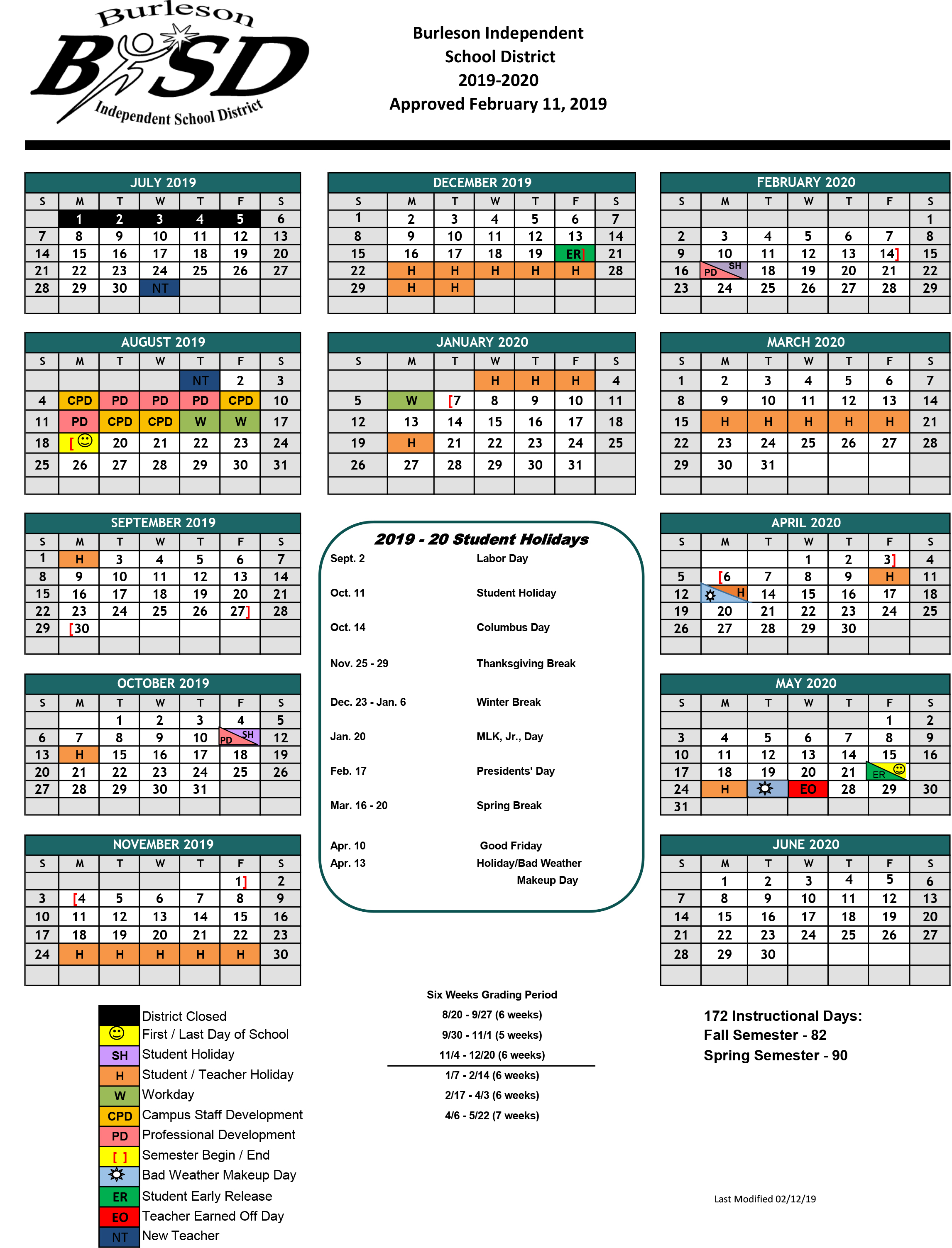 Burleson Isd Student Calendar For 2019 20 School Year Approved For Brownsville Isd Academic Calendar