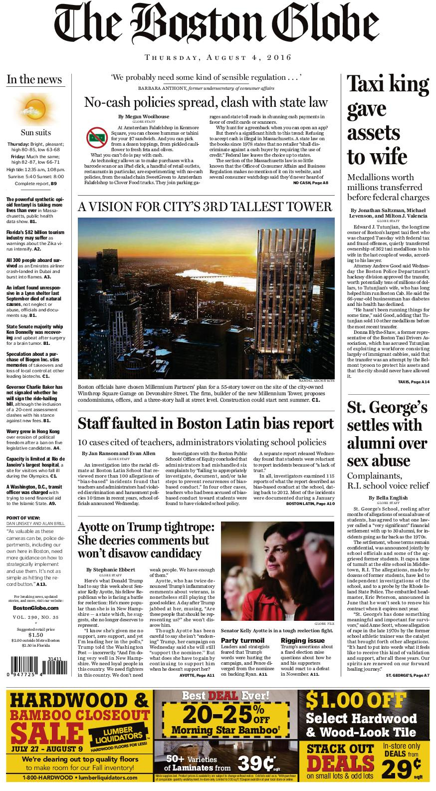 Calaméo – The Boston Globe 08042016 Throughout 20When Does Dorchester County School Start In August Of 20