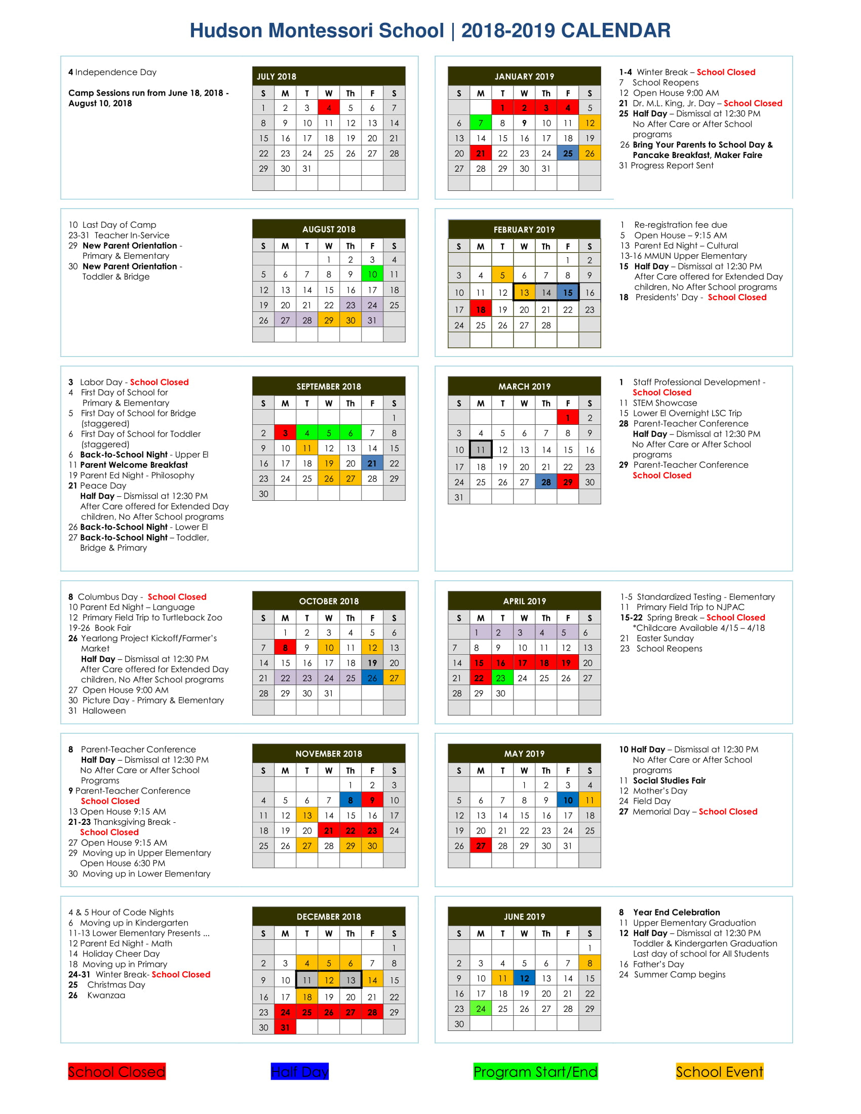 Calendar 2018 2019   In New Canaan School Calendar