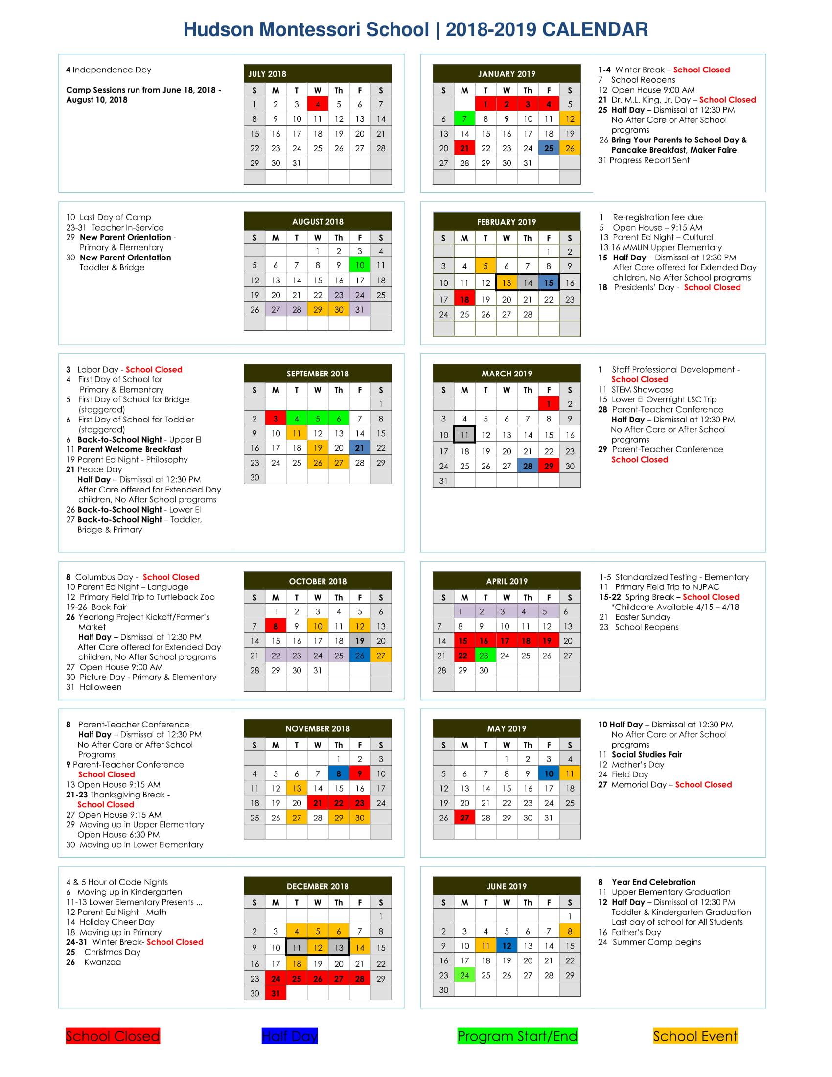 Calendar 2018 2019 | With Regard To East Meadow High School Calandar 2012