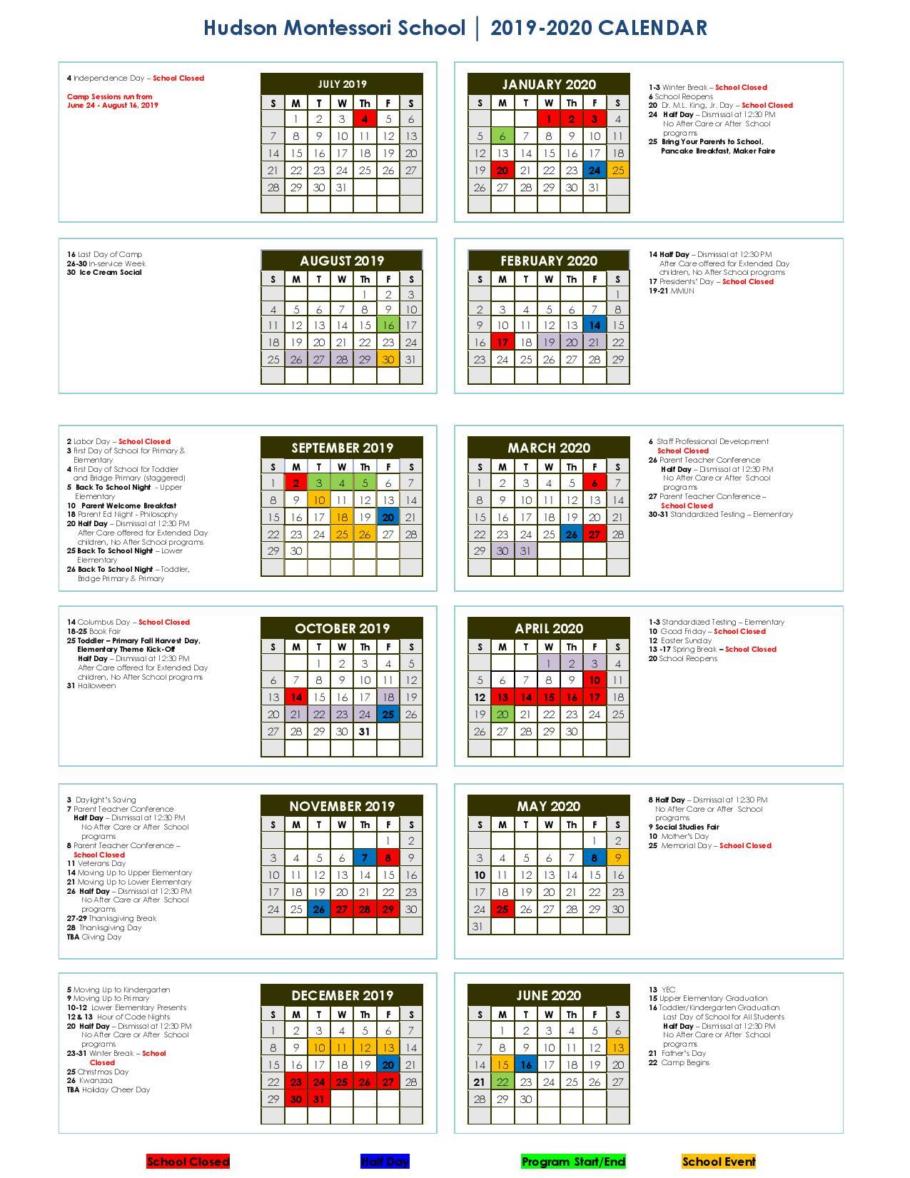 Calendar 2019 2020   For New Canaan School Calendar
