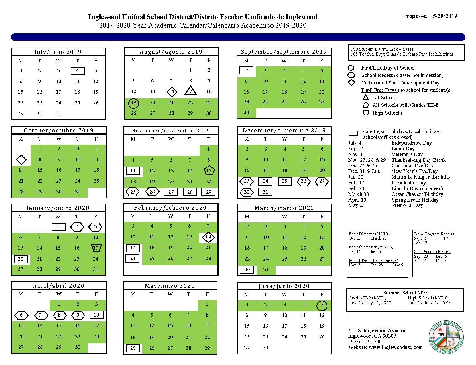 Calendar – About Us – Inglewood Unified School District In Victorville School District Calendar