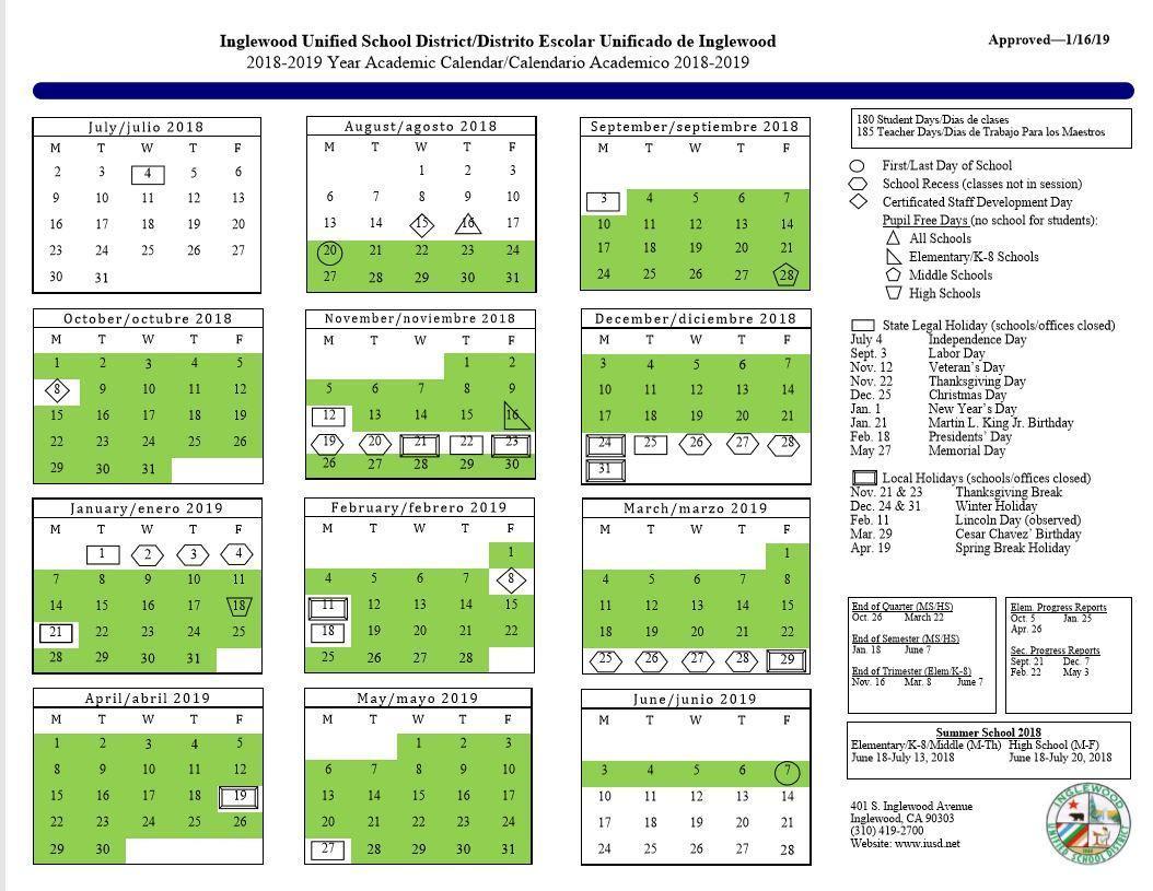 Calendar – About Us – Inglewood Unified School District inside Ontario Montclair School District Calendar