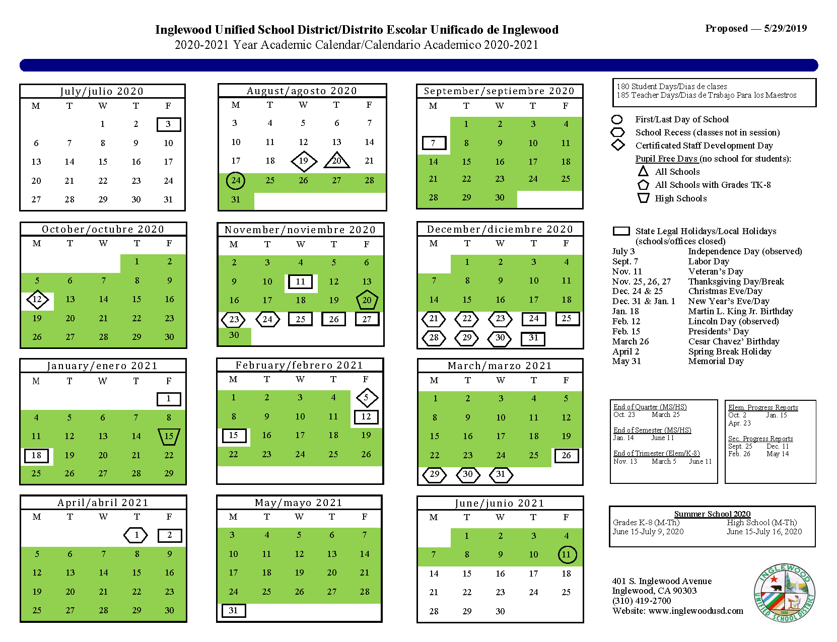 Calendar – About Us – Inglewood Unified School District Throughout Victorville Elementary School Calendar