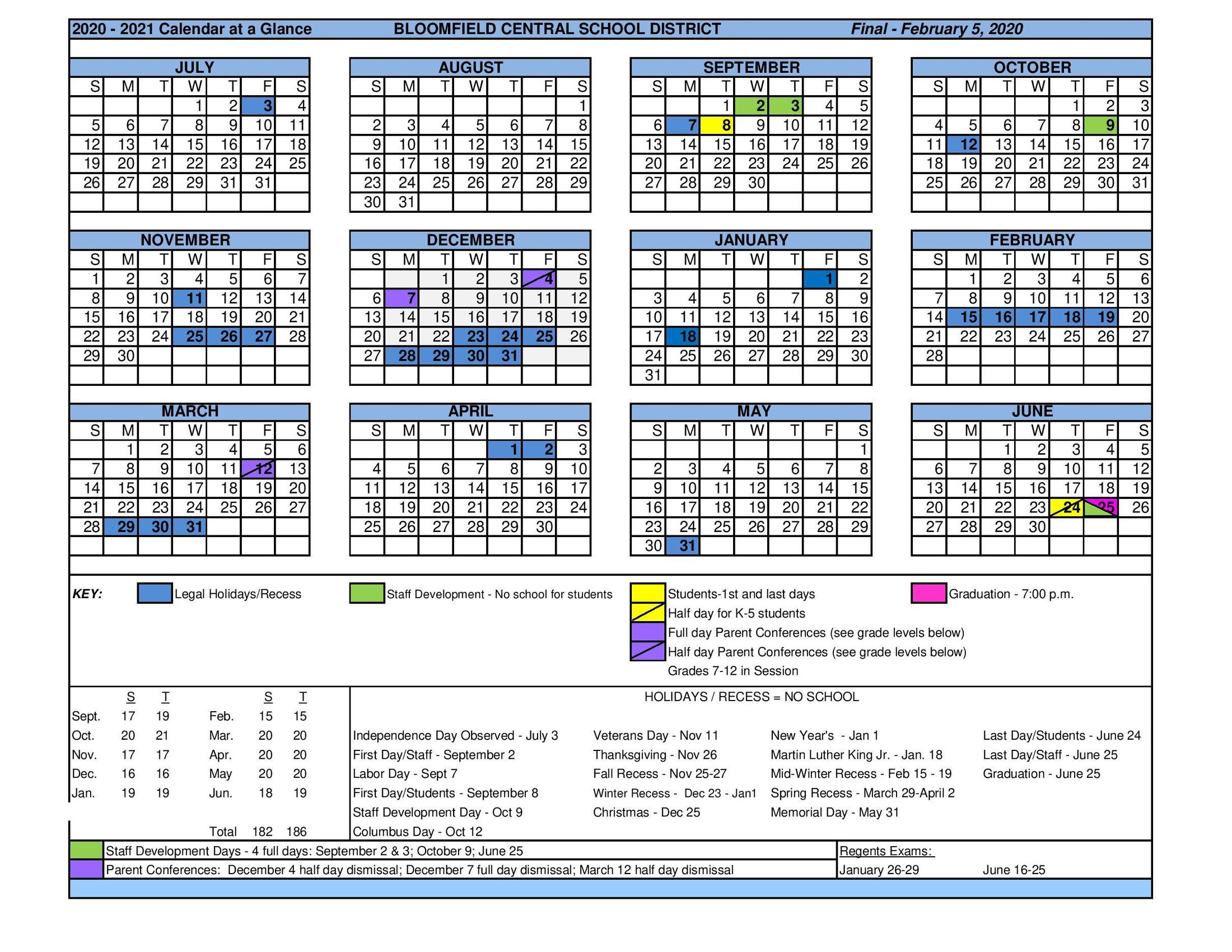 Calendar At A Glance – District – Bloomfield Central School Inside West Bloomfield School Calendar 2021