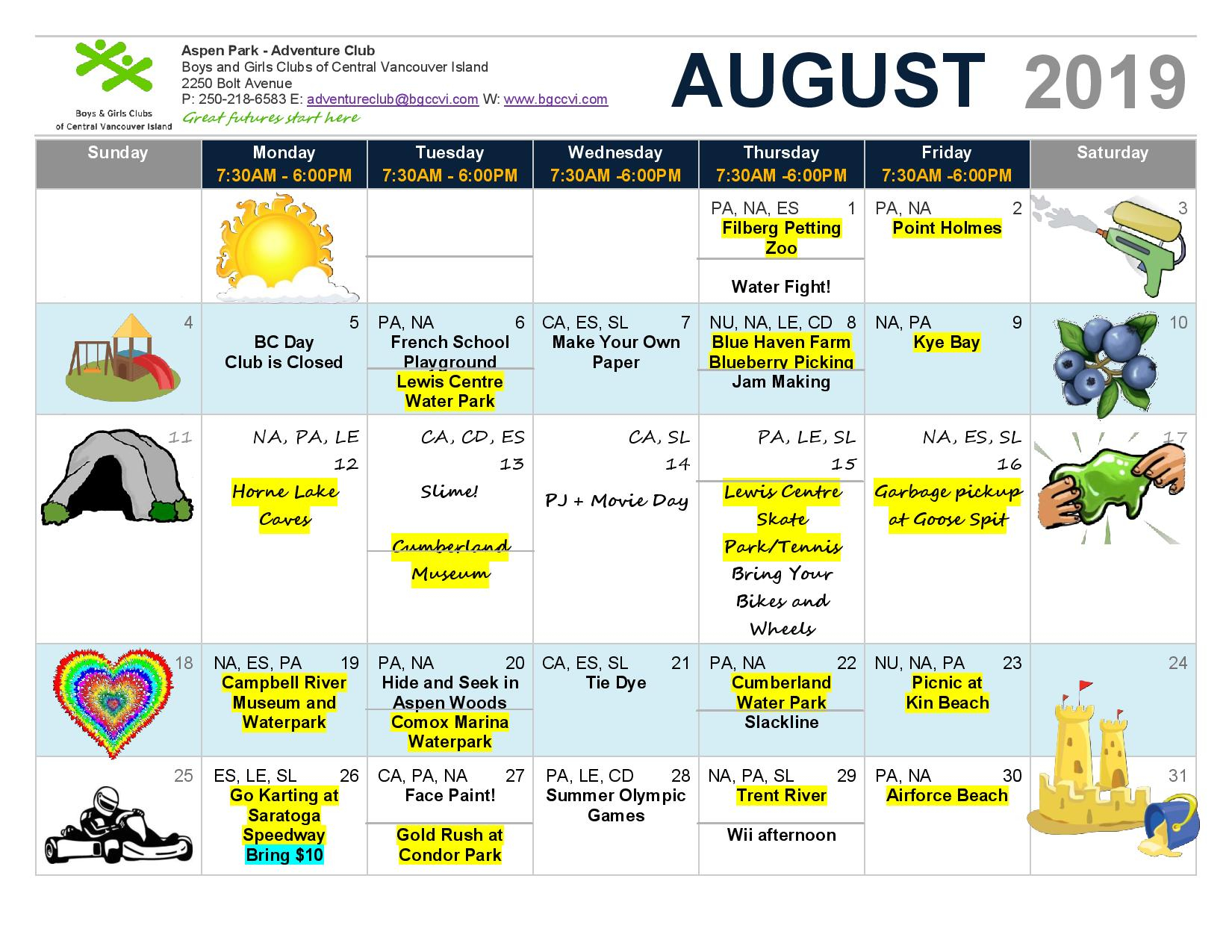Calendar August 2019 Ac Page 001 - Boys & Girls Clubs Of With Boys And Girls Club Calender For Meetingd