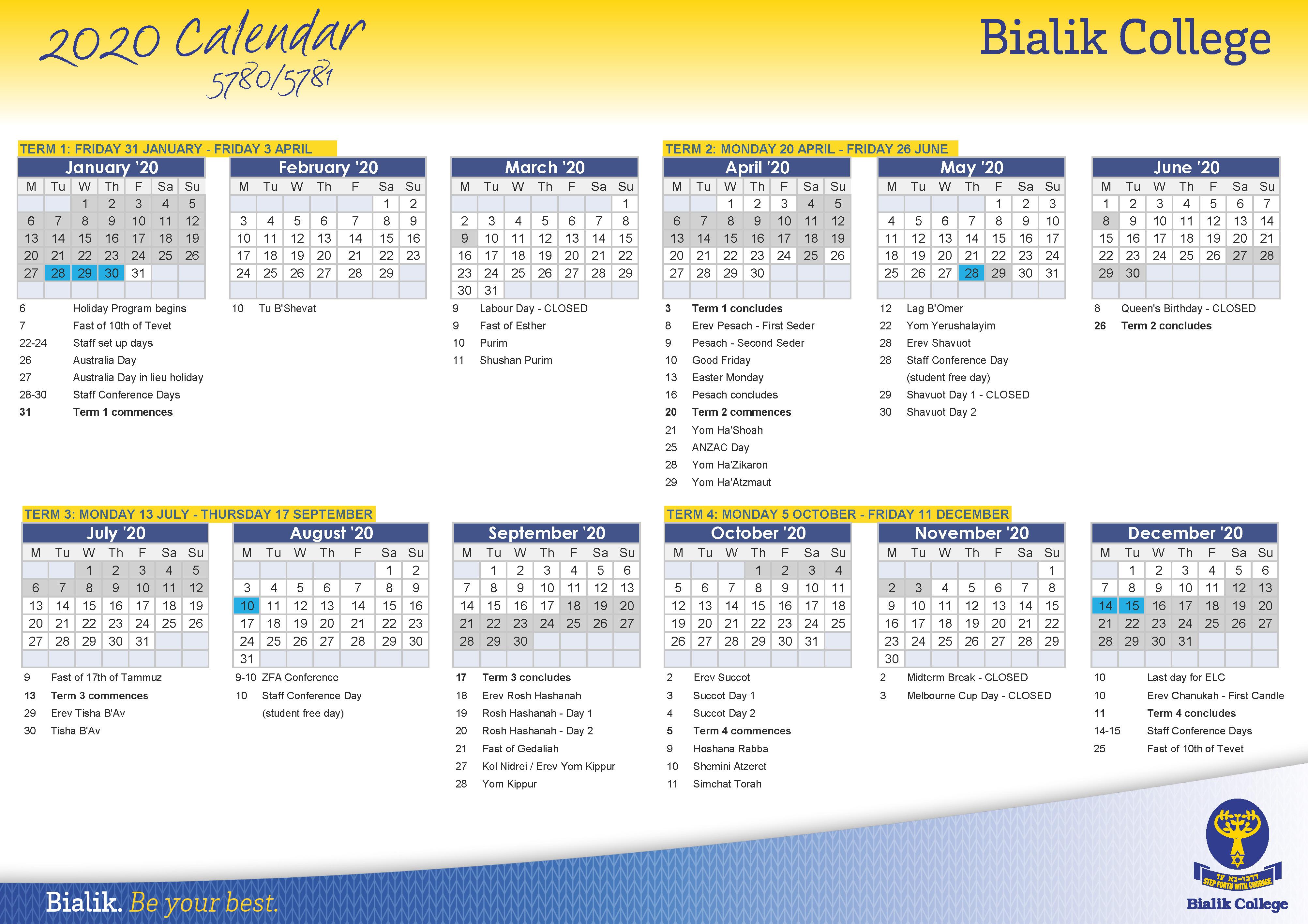 Calendar – Bialik With Regard To Unimelb Academic Calendar