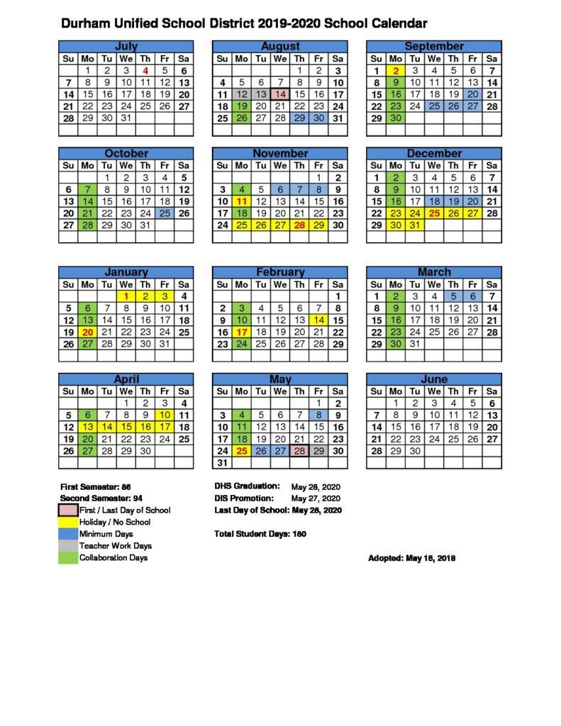 Calendar – Durham Unified School District Regarding Durham Public Schools 2021 Calendar