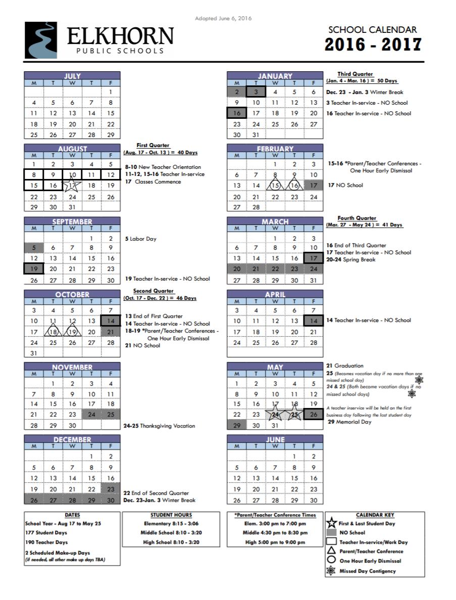 Calendar | Elkhorn Public Schools Throughout Bay City Public Schools Calender 2021 2020