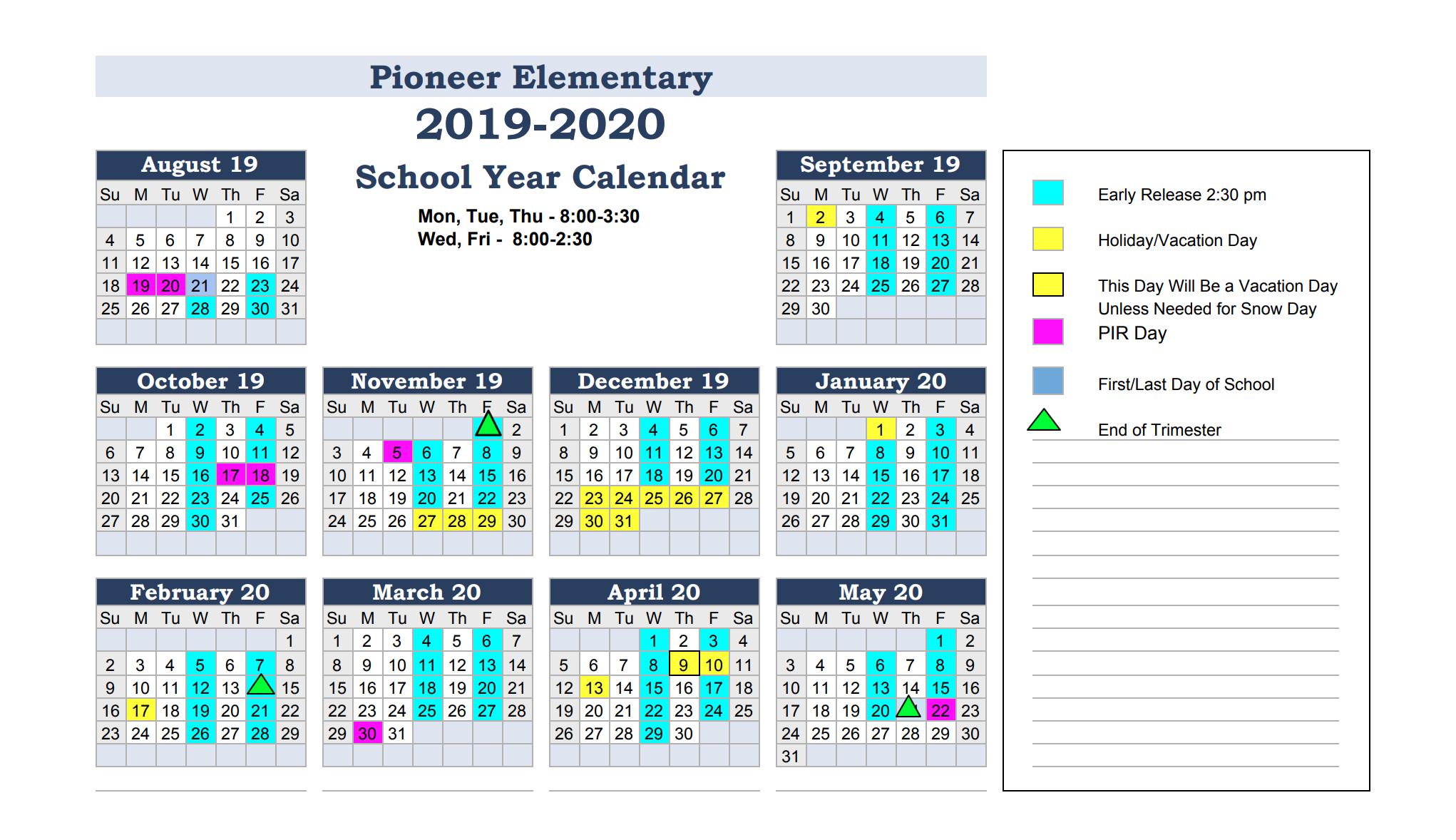 Calendar & Events – Pioneer Elementary School In Ool District 2 Calander For Billings Montnana