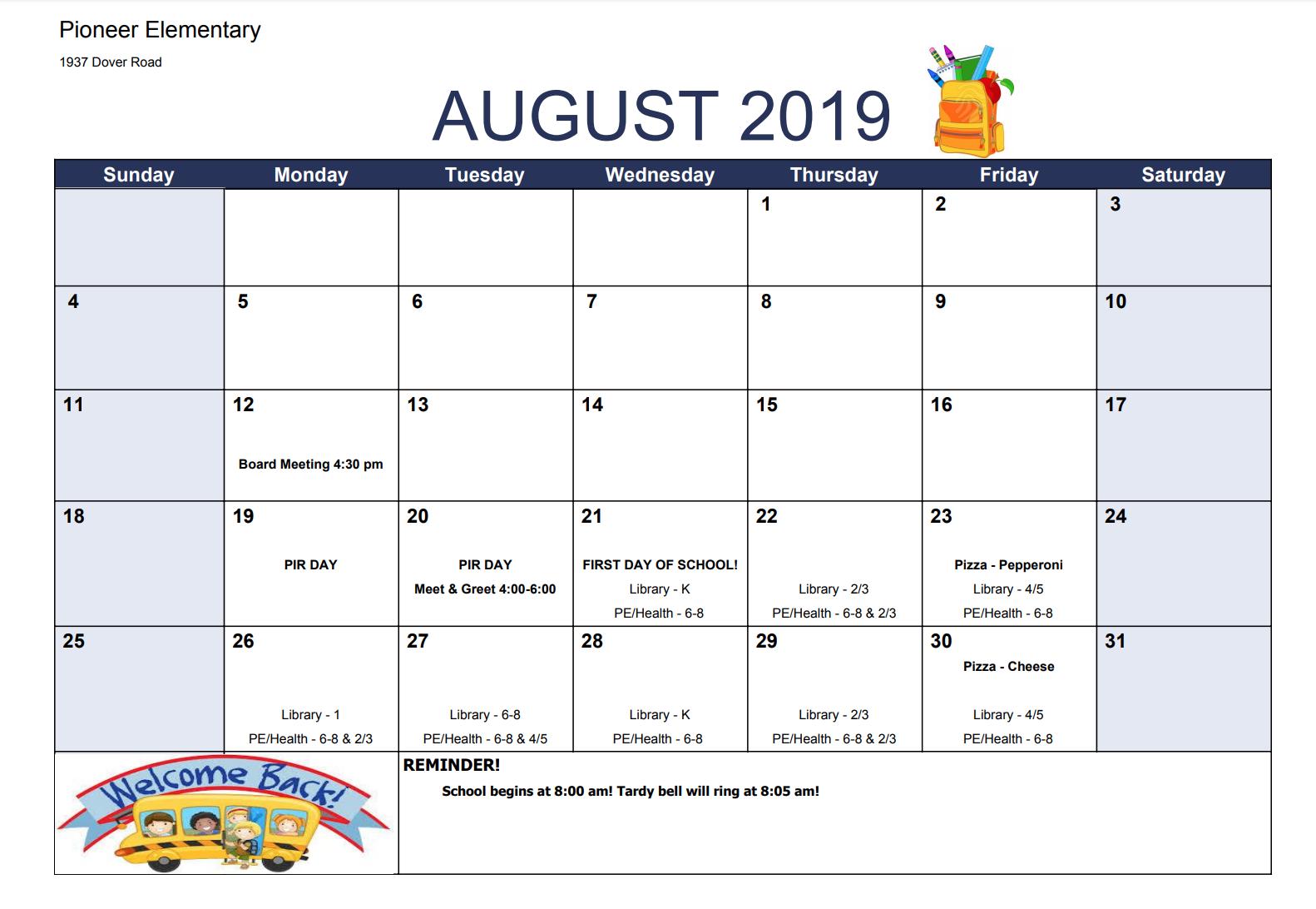 Calendar & Events – Pioneer Elementary School With Billings School Distric 2 Calendar