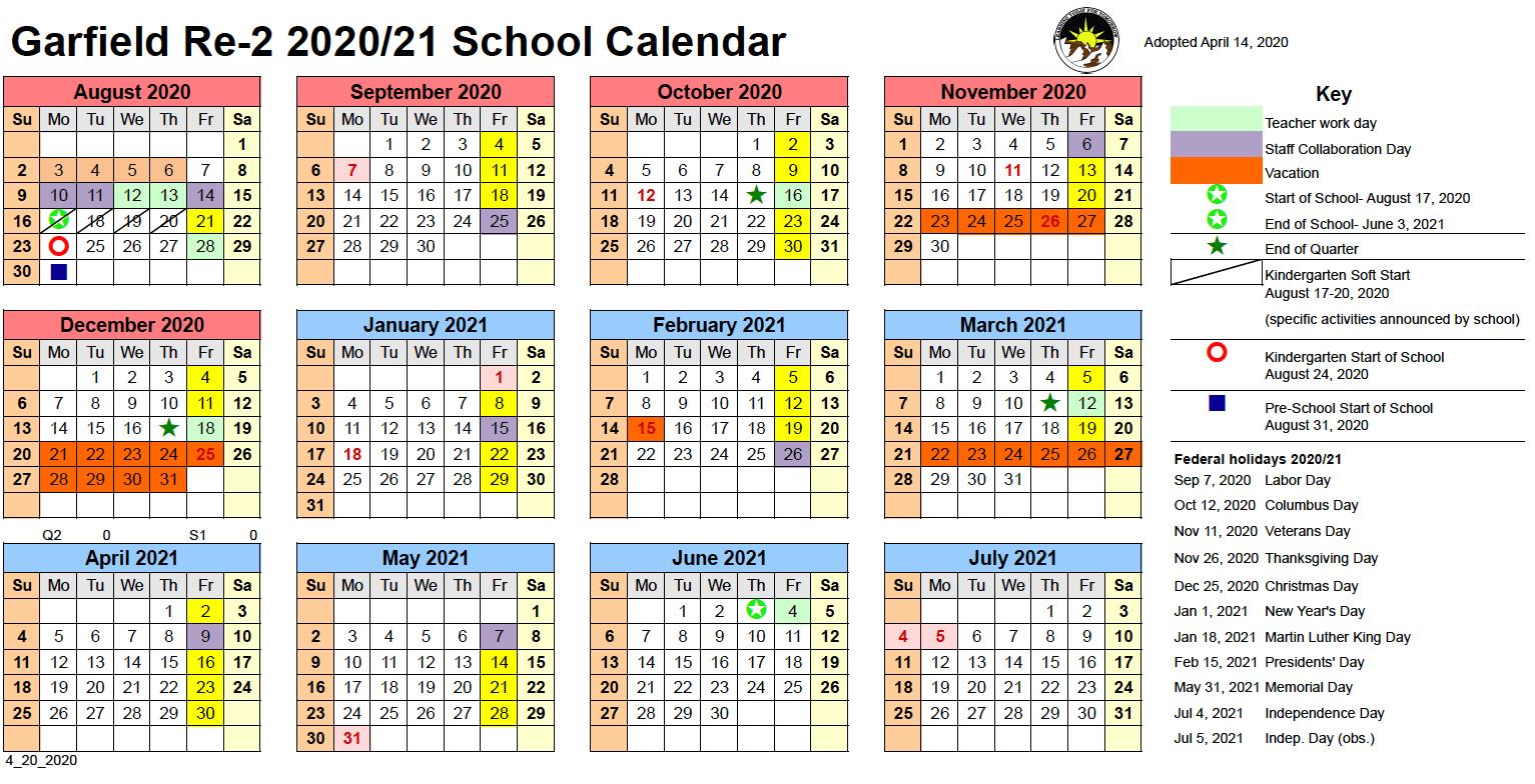 Calendar – Garfield School District No. Re 2 Throughout District 20 Colorado Springs Calendar