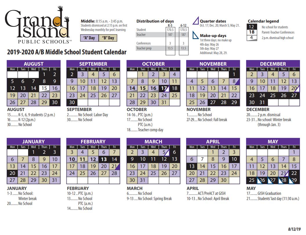 Calendar - Grand Island Public Schools With Grand Island Public Schools Calendar