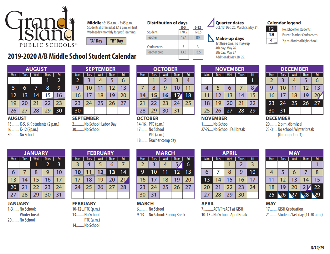 Calendar – Grand Island Public Schools With Walnut Hills Highchool Calendar