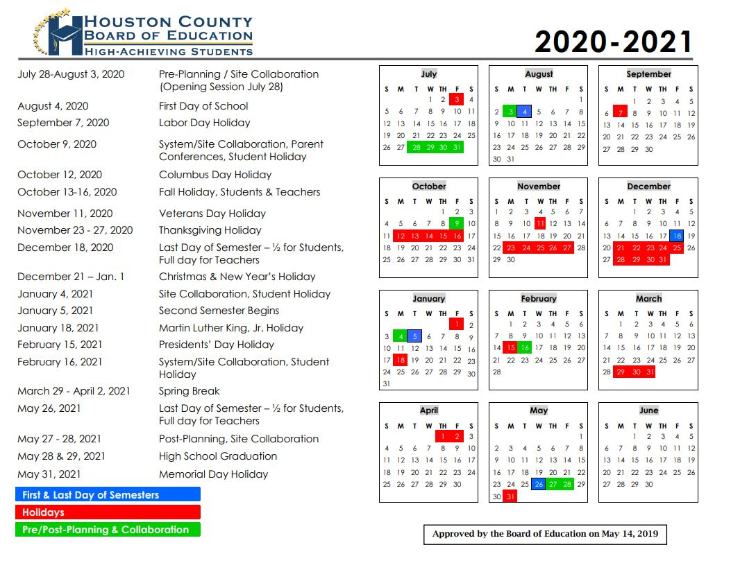Calendar – Houston County Schools In Georgia State University Calendar 2021 2020