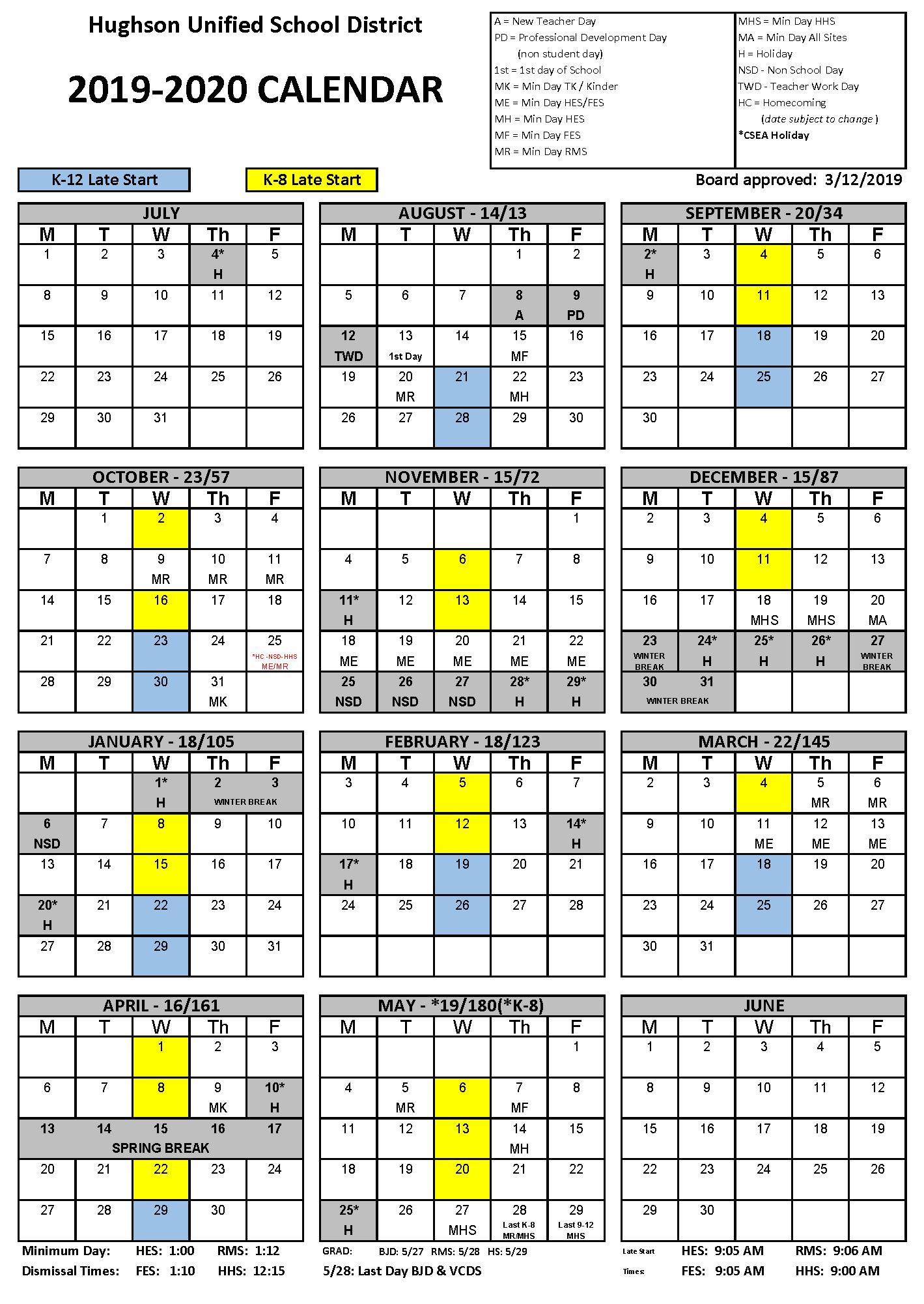 Calendar - Hughson Unified School District throughout Lodi Unified School District Calendar