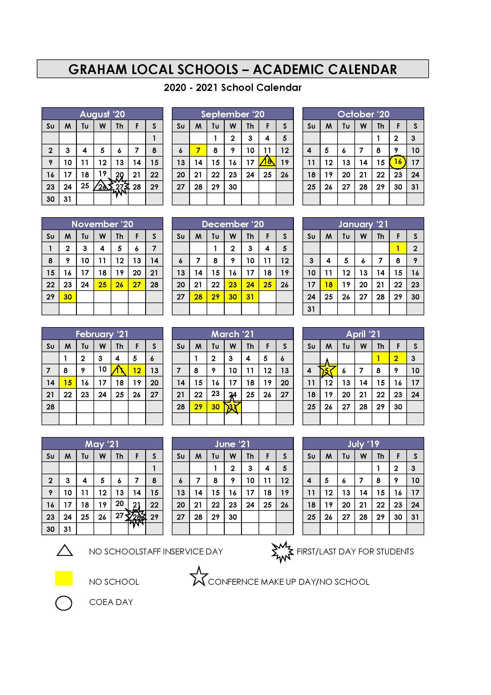 Calendar In 2021 Calendar For Bowing Green City Schools