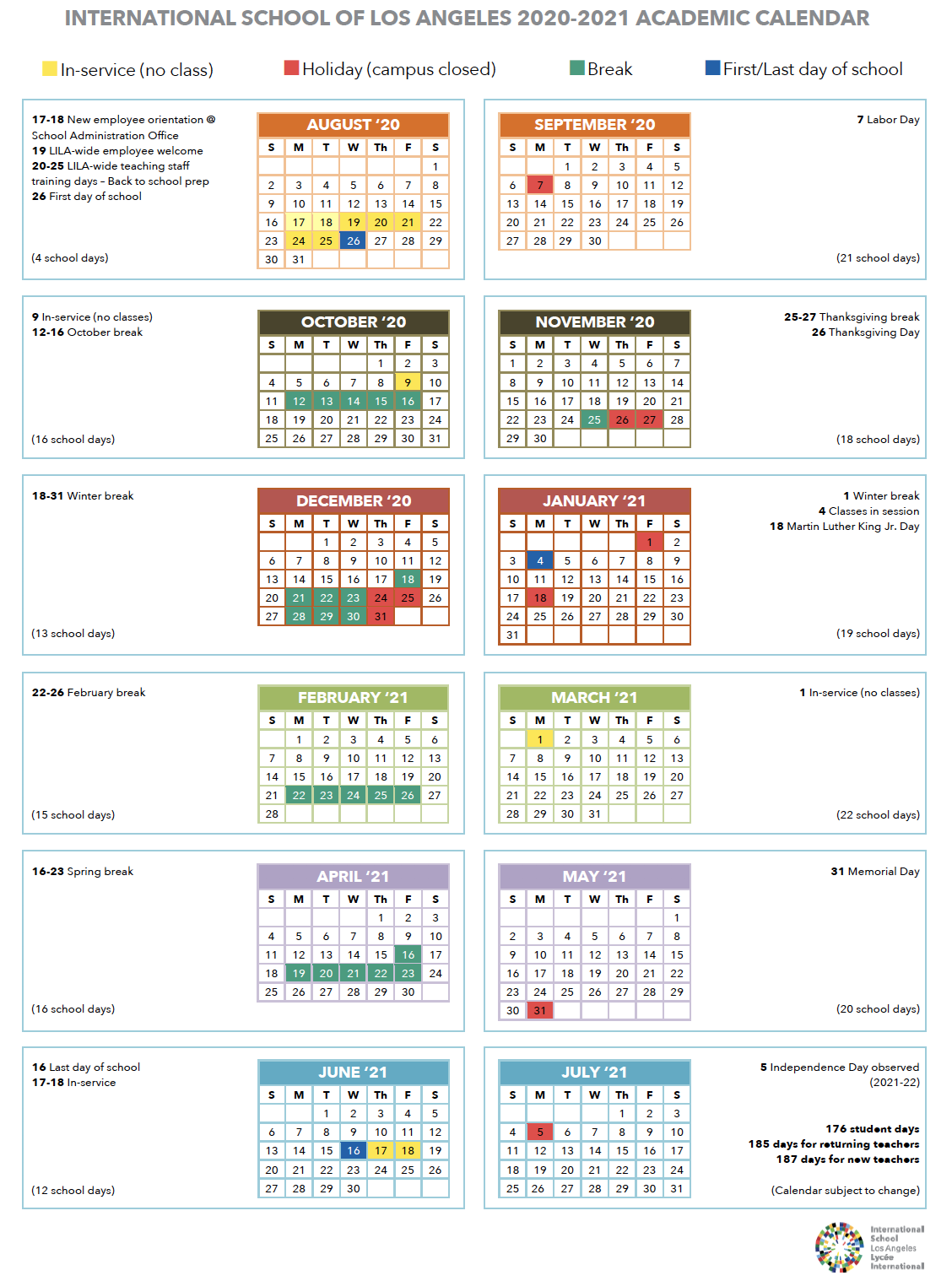 Calendar   International School Of Los Angeles Throughout Santa Monica College Academic Calendar
