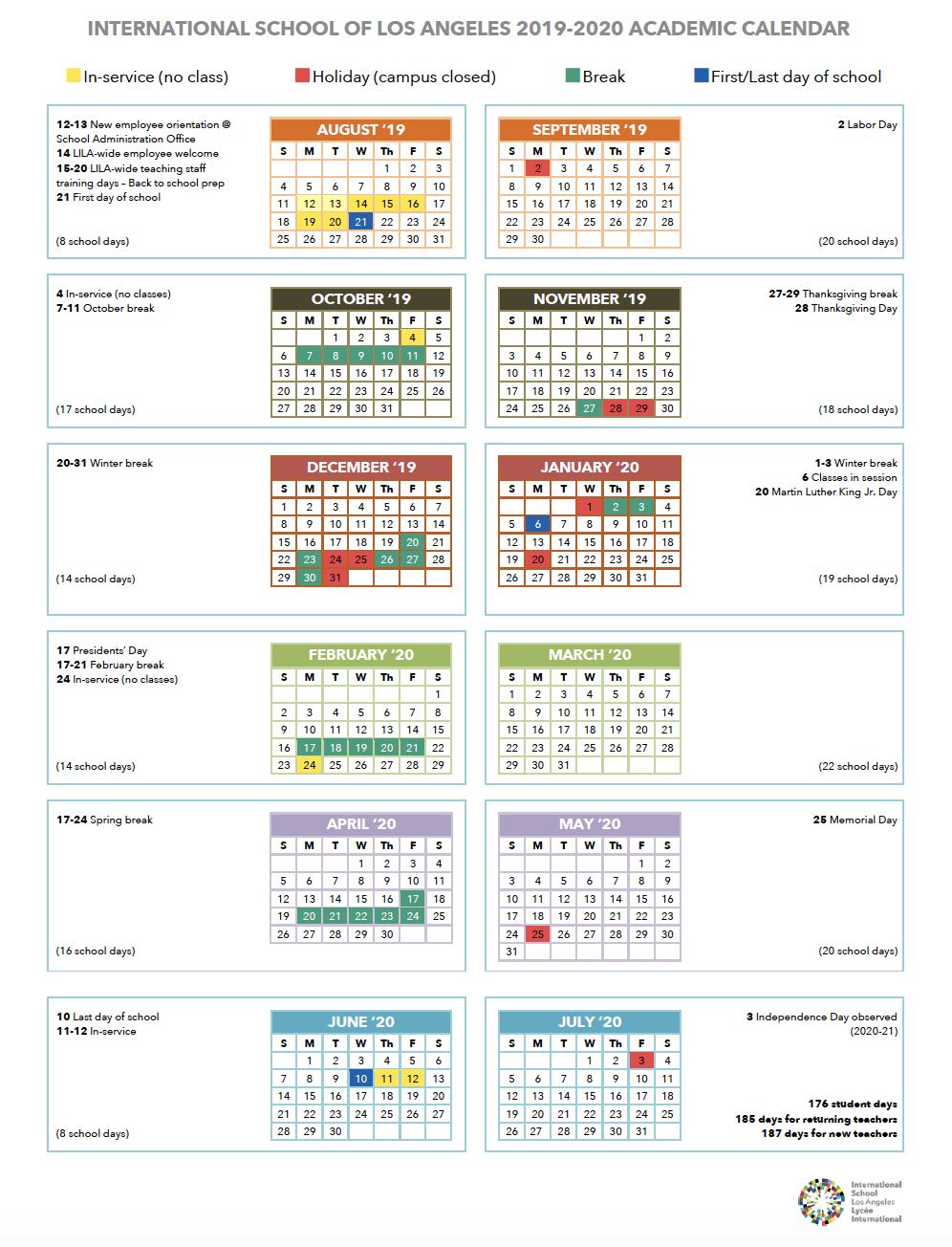 Calendar | International School Of Los Angeles Within La Habra High School Year Calendar
