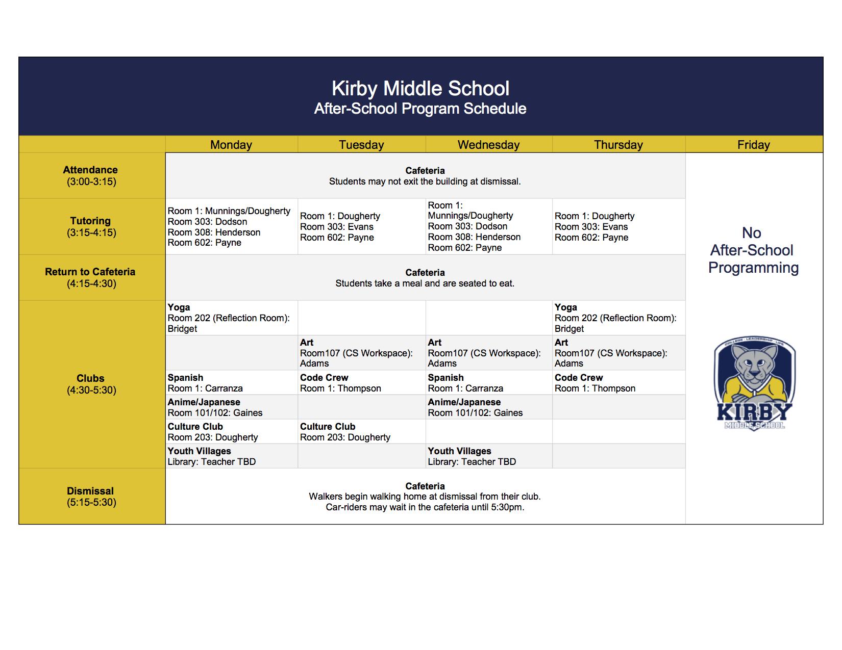 Calendar – Kirby Middle School For University Of Memphis School Calendar