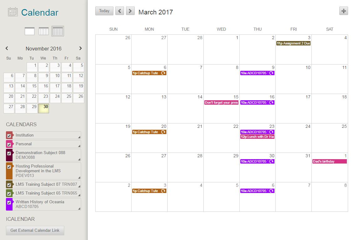 Calendar : Learning Management System throughout University Of Melbourne Academic Calendar