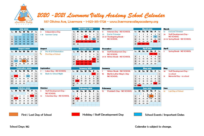 Calendar – Livermore Valley Academy Pertaining To Livermore School District Calander