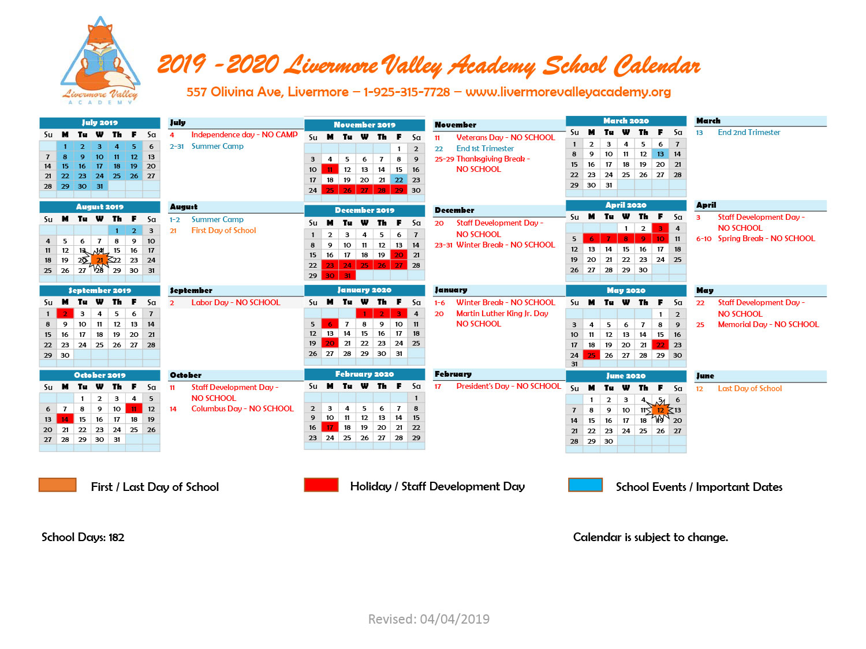 Calendar – Livermore Valley Academy With Livermore School District Calander
