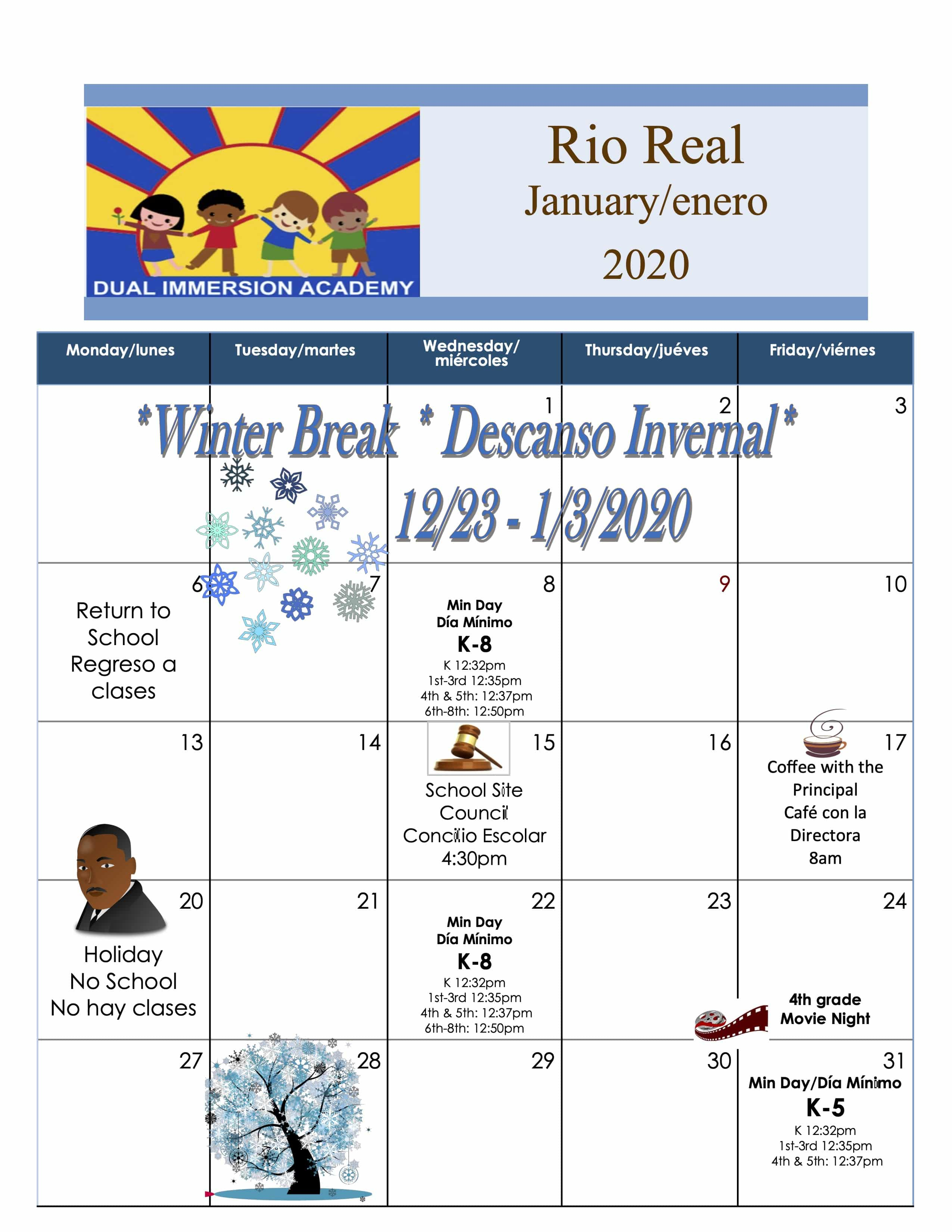 Calendar – Rio Real School For Del Rio High School Calendar
