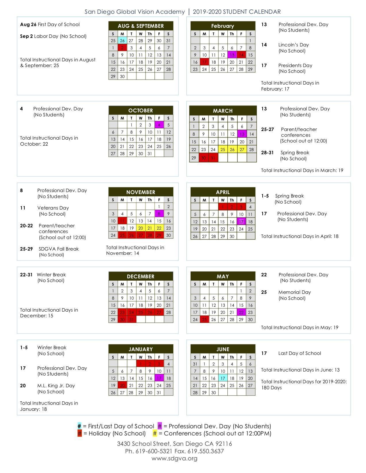 Calendar & Schedules San Diego Global Vision Academy Inside San Diego School Calendar 2021
