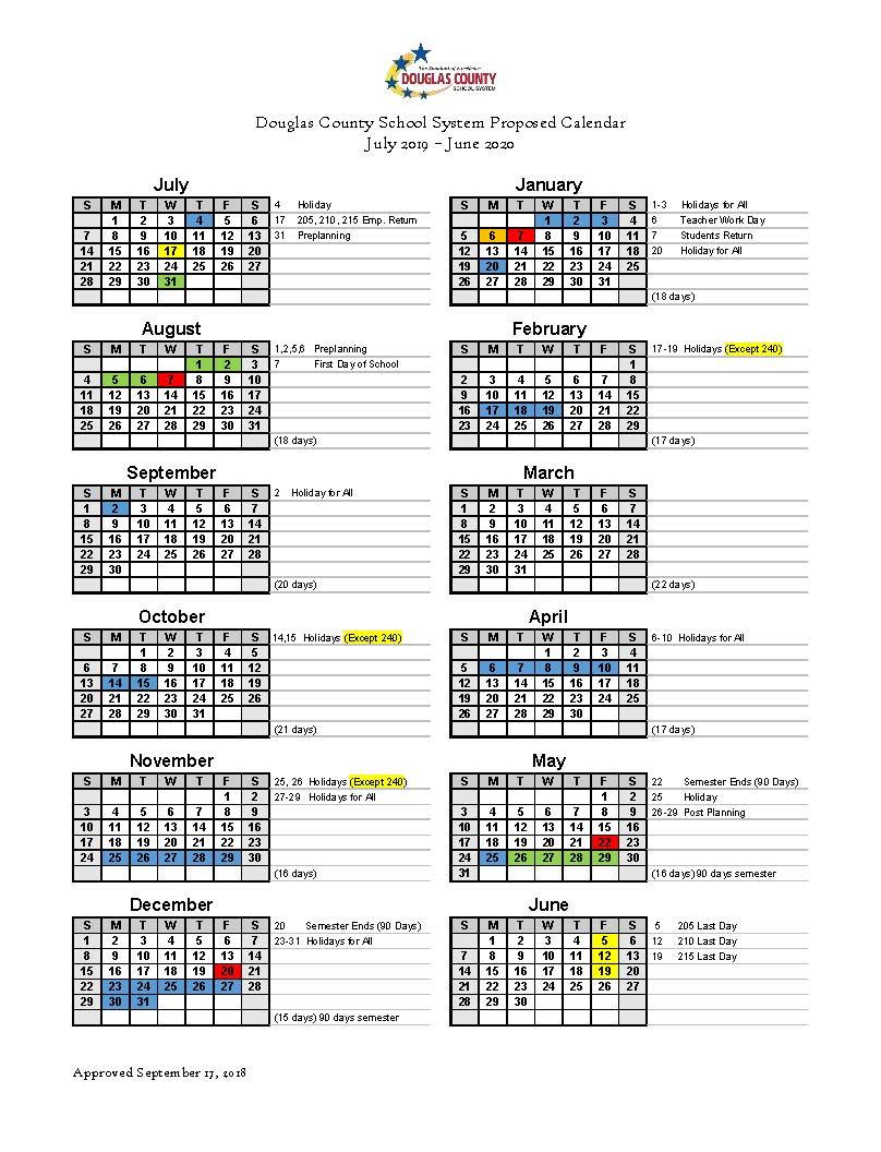Calendar Set For 2019 2020 - Douglas County School System Intended For North Canyon High School Calendar