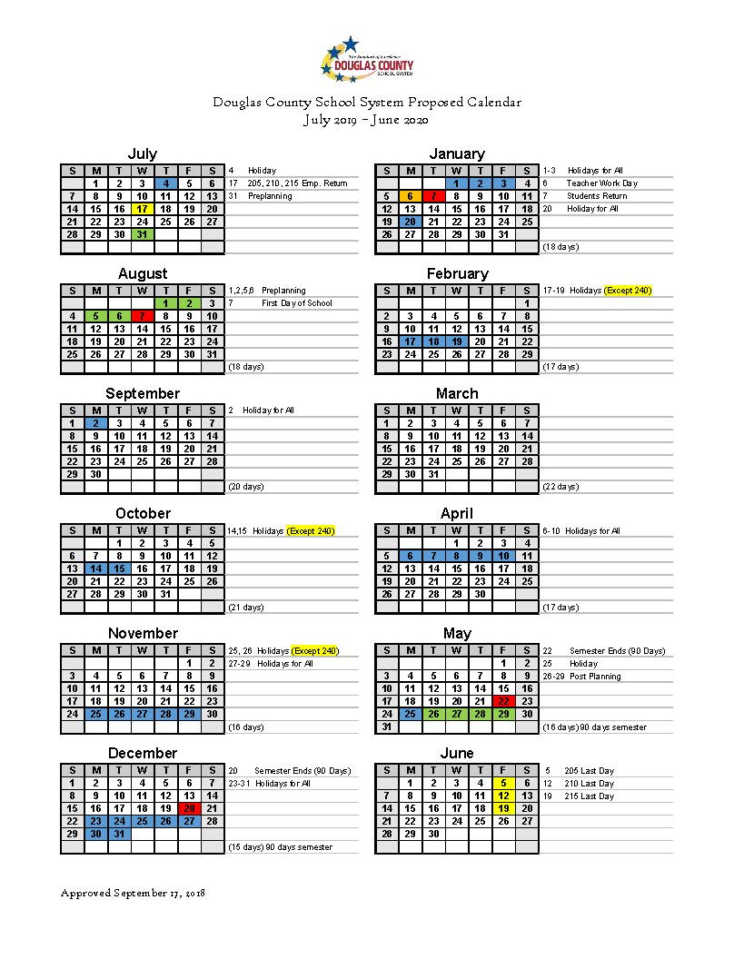Calendar Set For 2019 2020 - Douglas County School System Within Rock Hill District 3 Calendar