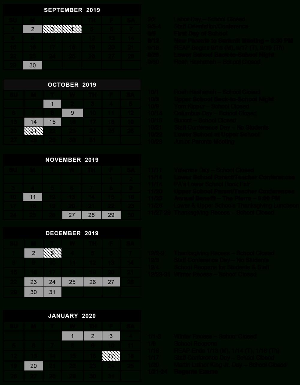 Calendar — The Summit School regarding Middlesex County College 2015-2020 Calendar