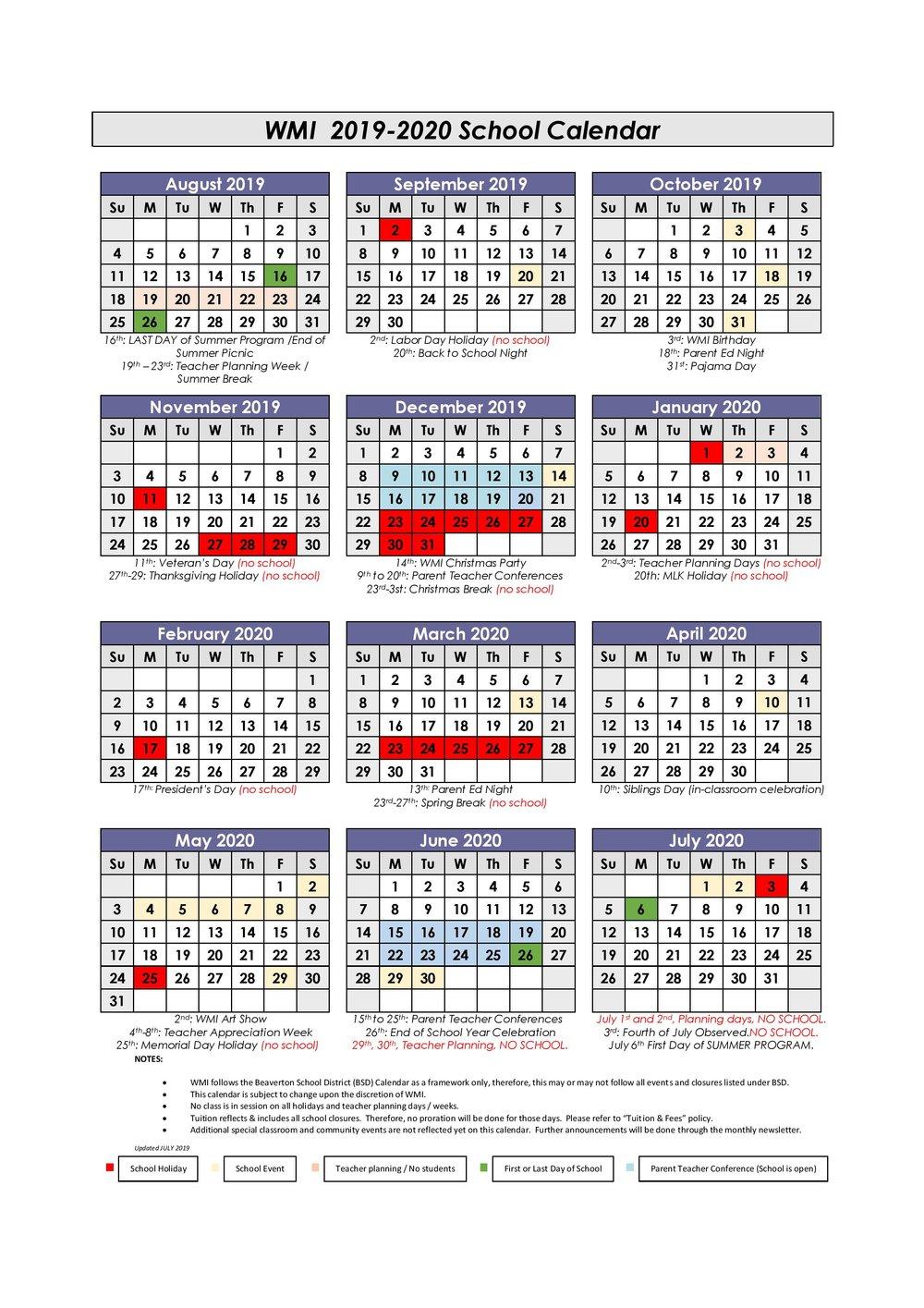 Calendar — Westside Montessori International For Last Day Of Summer Calendar