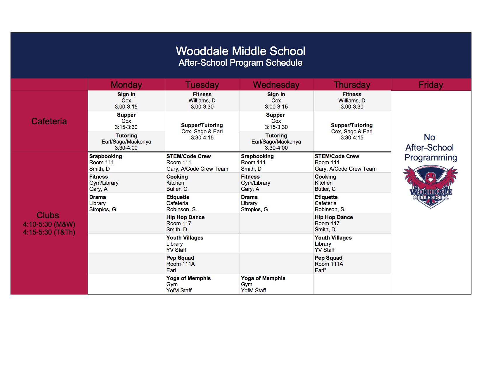 Calendar – Wooddale Middle School Intended For University Of Memphis School Calendar