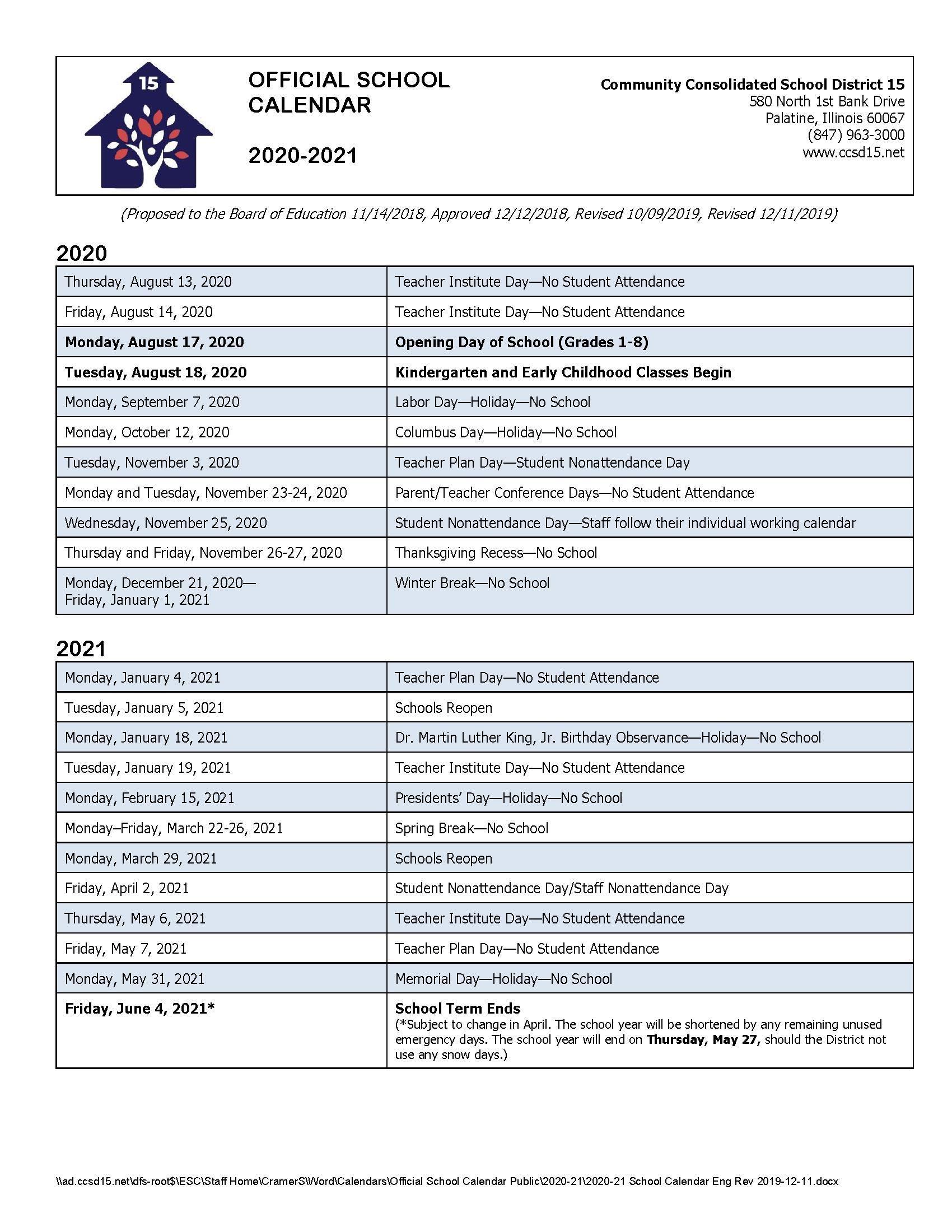 Calendars / 2020-21 Official School Calendar with Chamberlain University Schedule 2021
