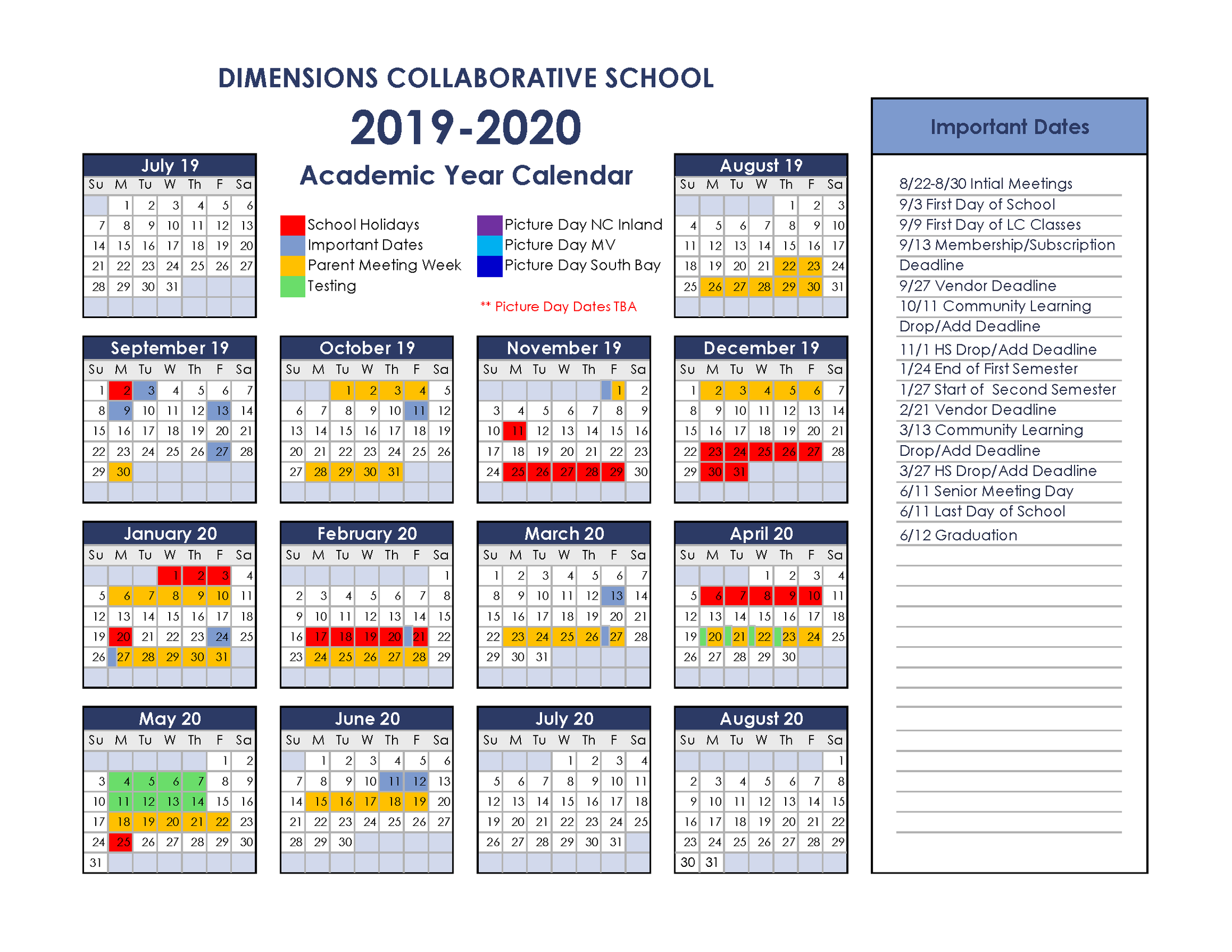 Calendars – About – Dimensions Collaborative School Pertaining To Otay Ranch High Scool Calendar