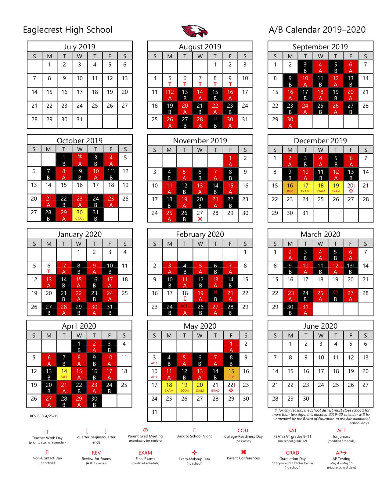 Calendars And Schedules / A/b Calendar Regarding Cherry Hill District Spring Break