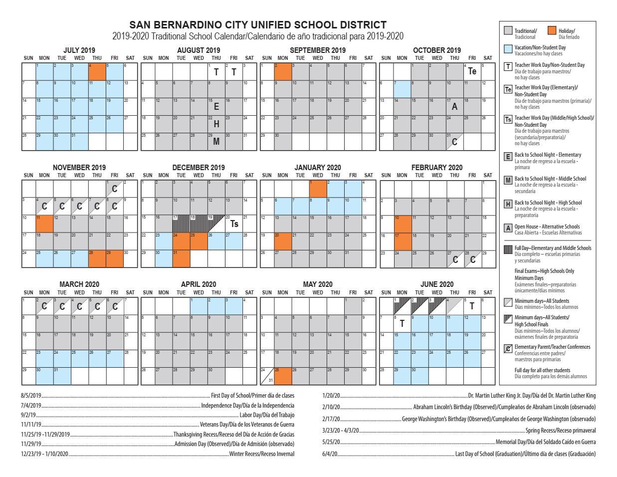 Calendars – Cesar E. Chavez Middle School For North Hills School Calendar