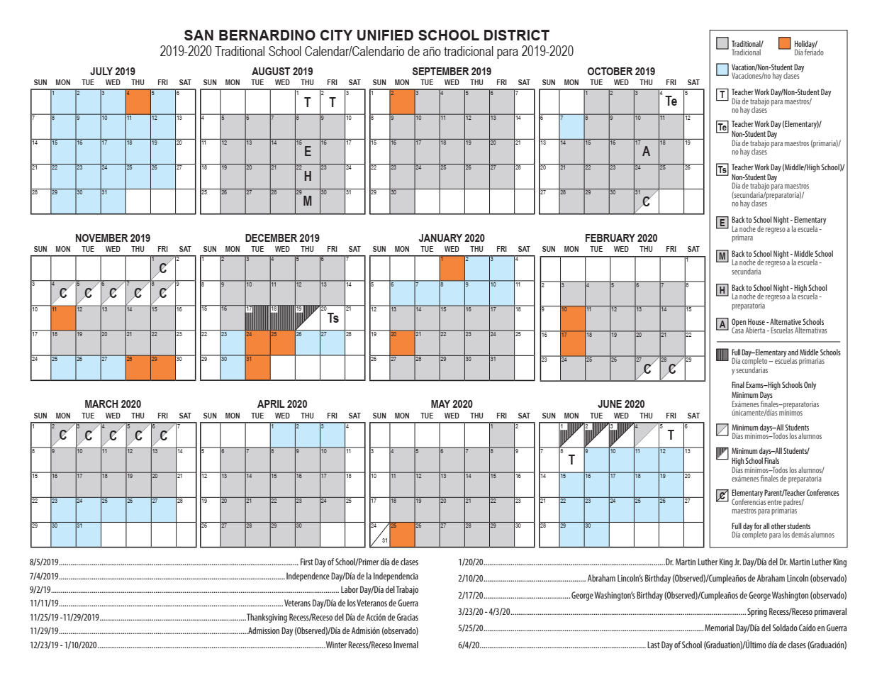 Calendars – Cesar E. Chavez Middle School Pertaining To La Habra High School Year Calendar