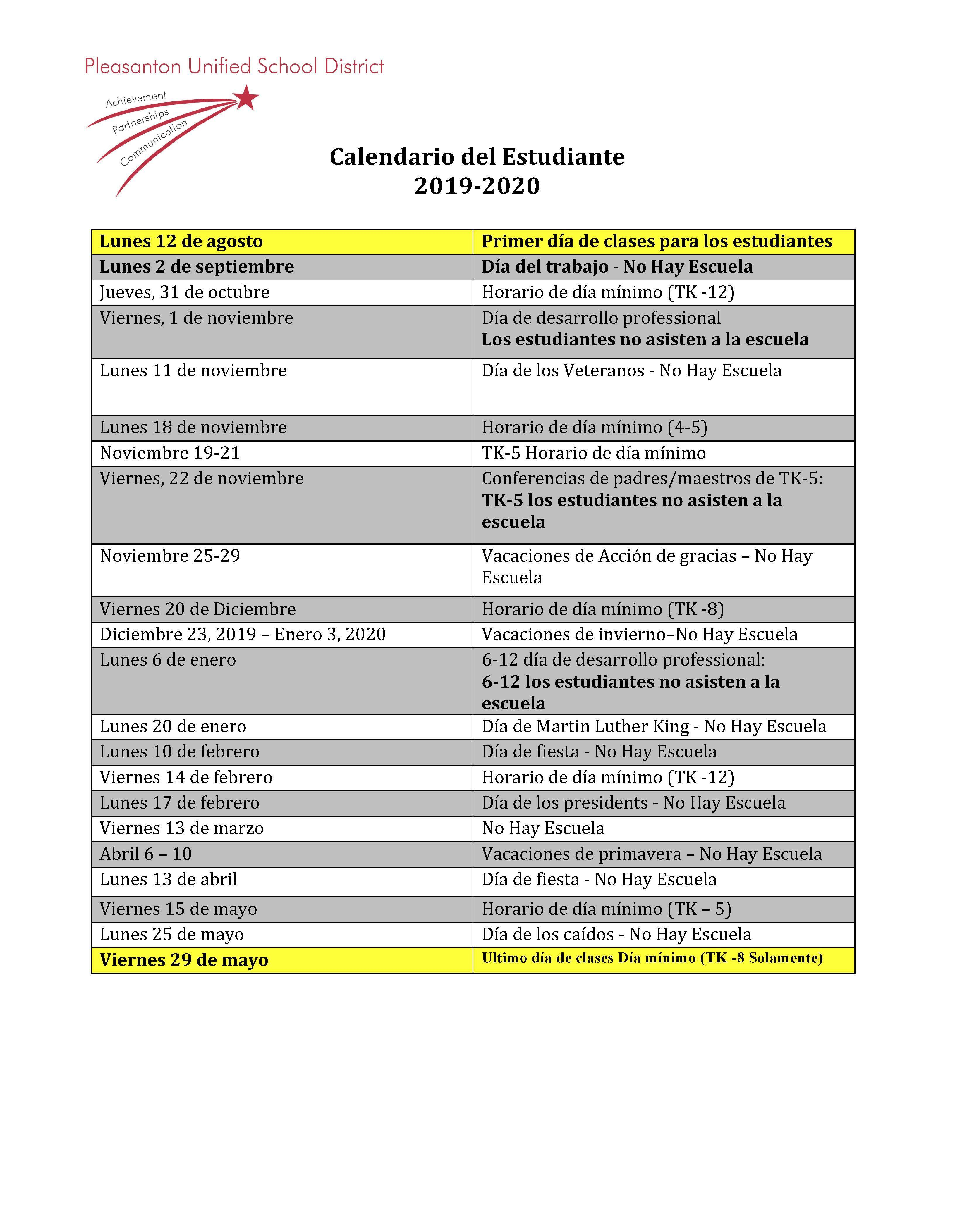Calendars - Miscellaneous - Pleasanton Unified School District Pertaining To Walnut Hills High School 2021 2020 Calendar