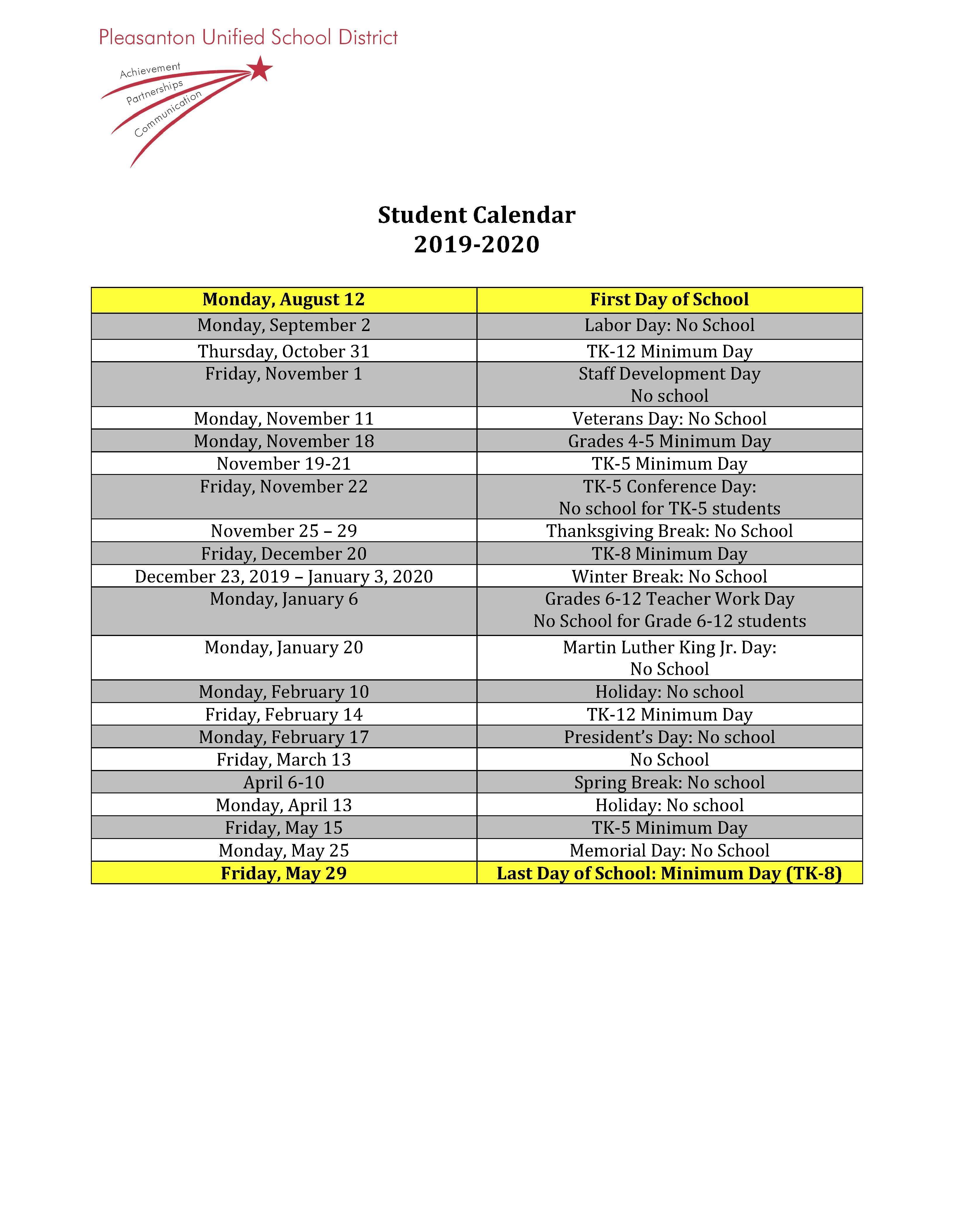 Calendars - Miscellaneous - Pleasanton Unified School District with Walnut Hills High School 2021-2020 Calendar