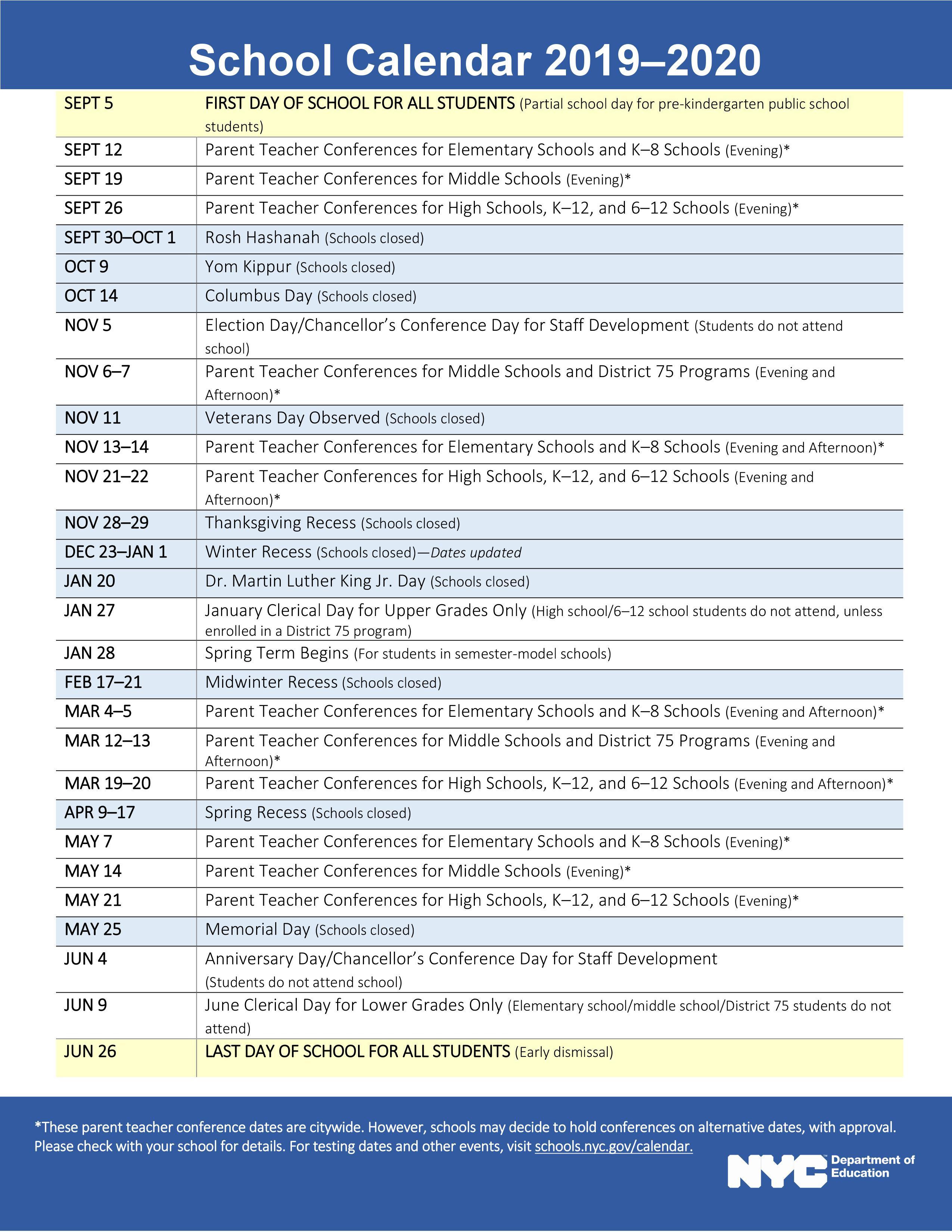Calendars – Ms54 Booker T. Washington Intended For New Jersey School Public Educatiom Calendar