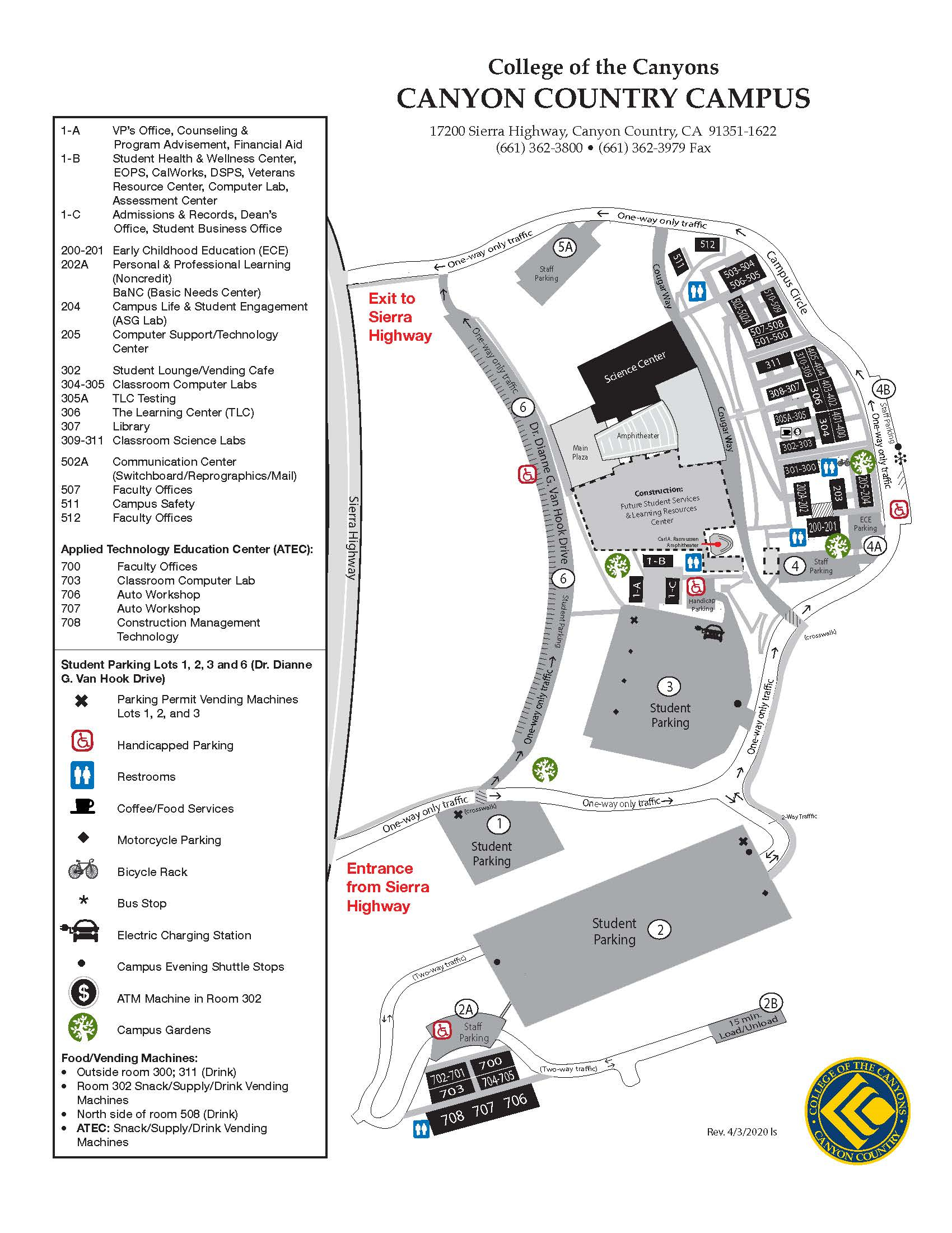 Campus Map Inside When Does The Spring Semester Start At College Of The Canyons