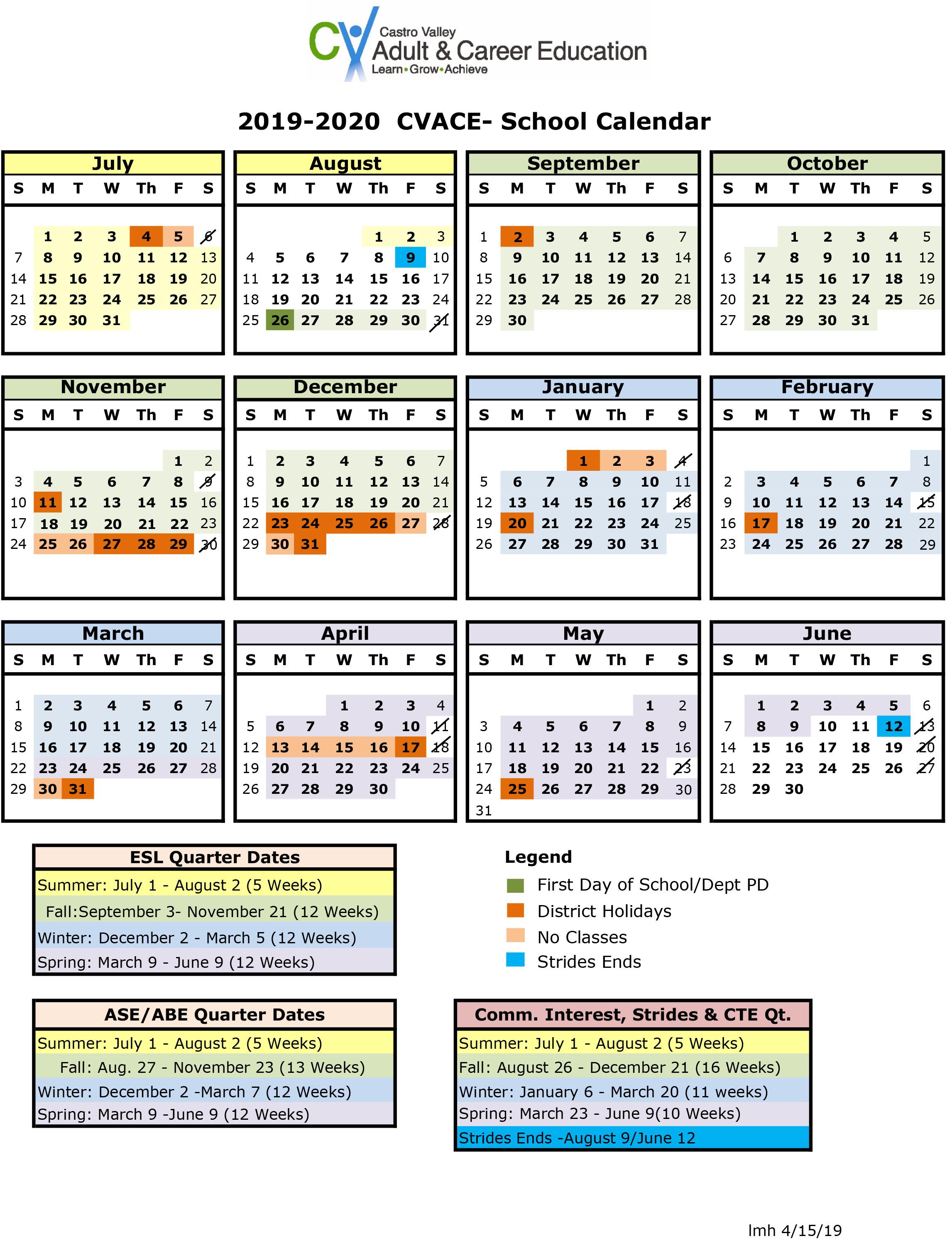 Castro Valley Adult And Career Education – Calendar Inside Hayward Unified School District Calendar 2021