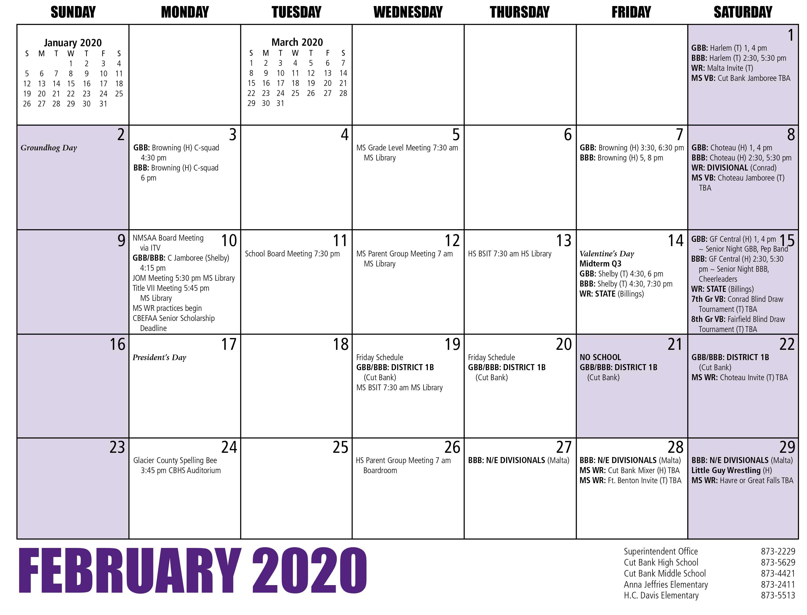 Cbps - Calendar For Billings School Distric 2 Calendar