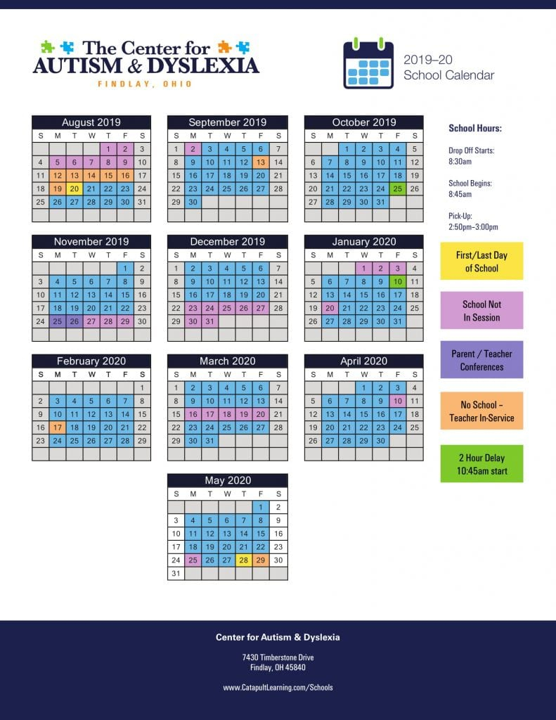 Center For Autism & Dyslexia: Findlay - Sesi With University Of Findlay Academic Calendar 2021
